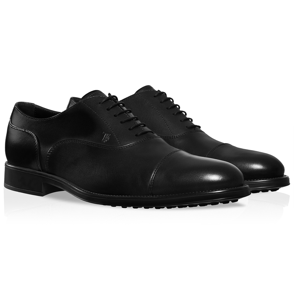 tod s leather lace up shoes in black for lyst
