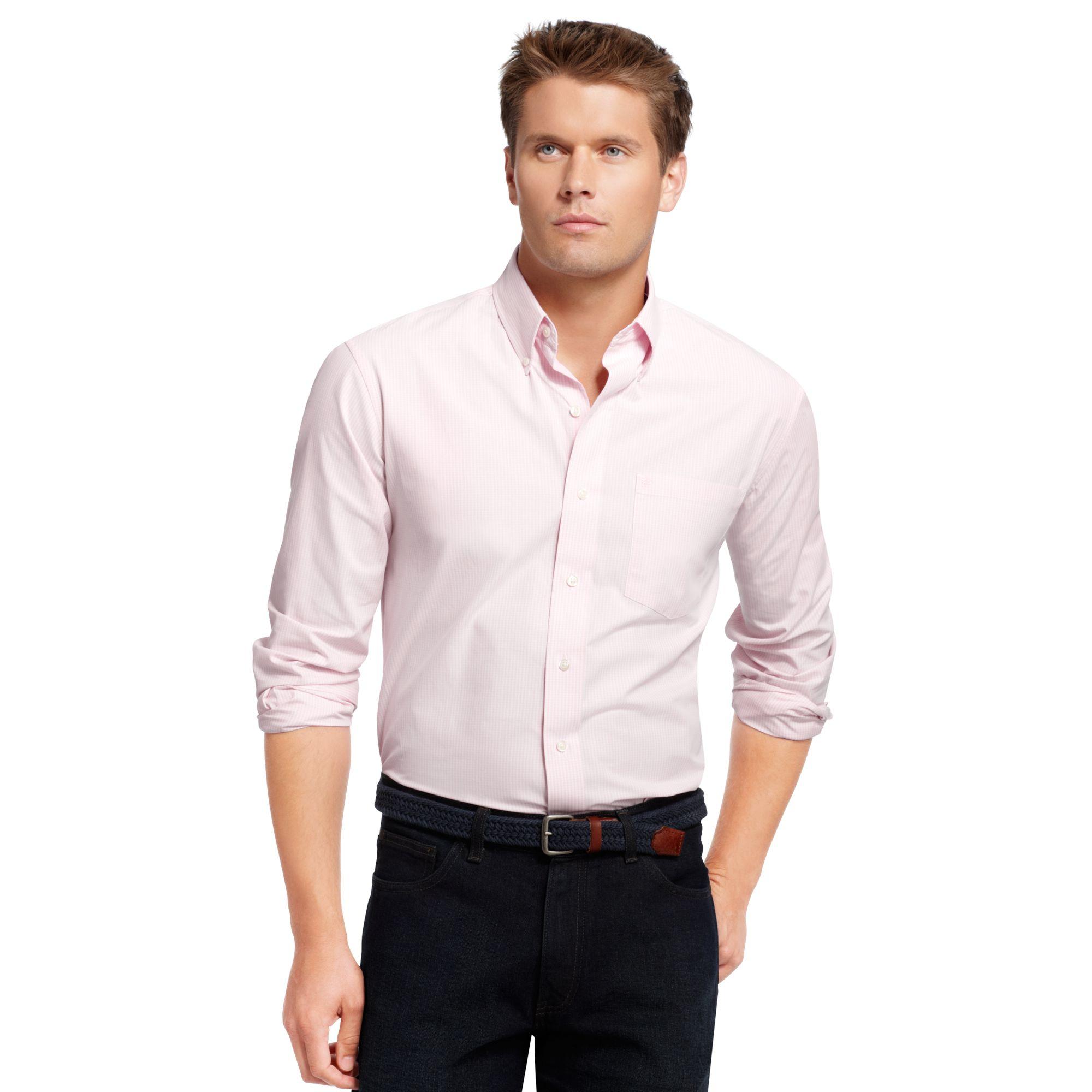 Izod big and tall long sleeve essential mini checked shirt for Izod big and tall shirts