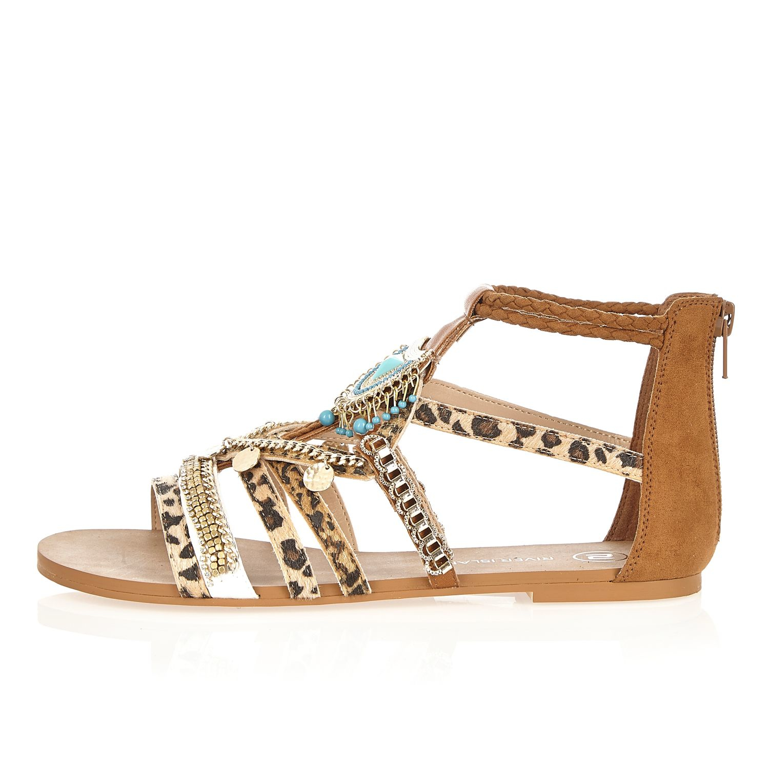 e9e2be6e0b971a Lyst - River Island Brown Embellished Leopard Print Sandals in Brown