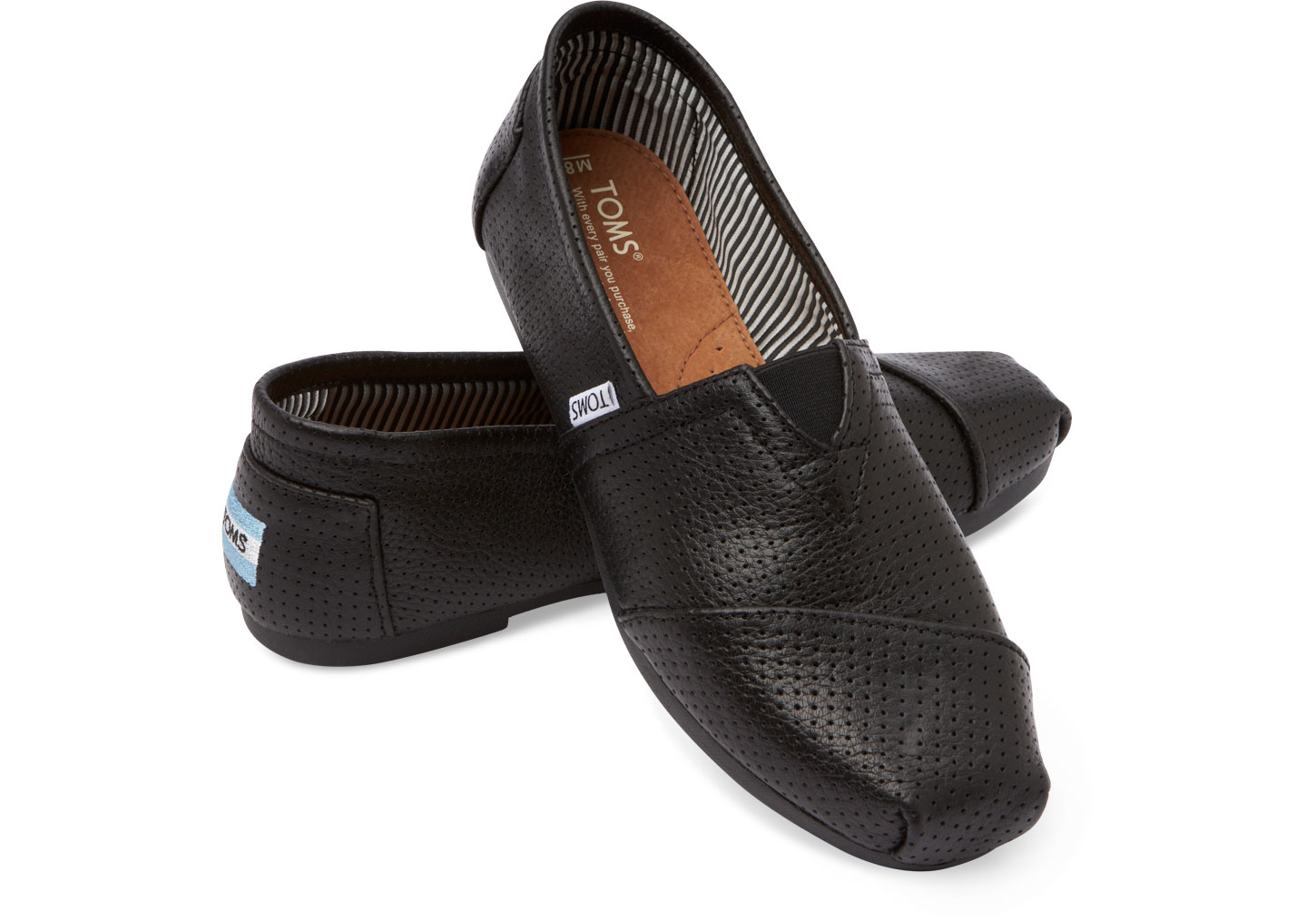 Toms Black Perforated Leather Men S Classic In Black For