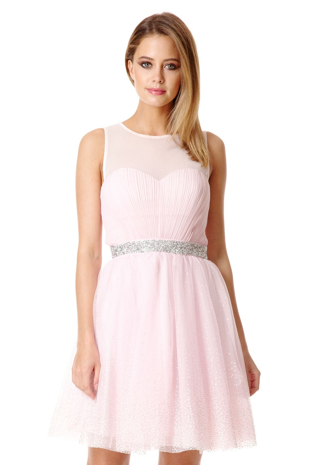 Quiz Pink Chiffon Crystal Prom Dress in Pink | Lyst