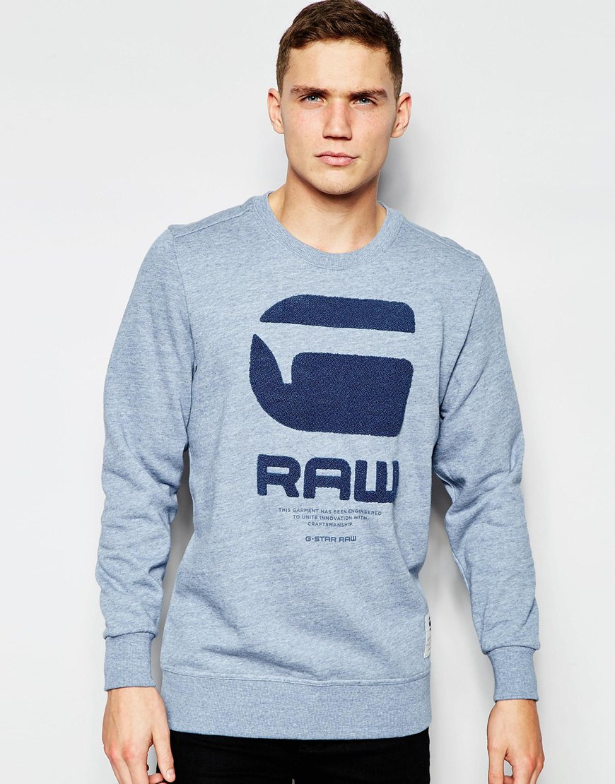 G-star raw Crew Sweatshirt Resap G Raw Logo In Light Blue ...