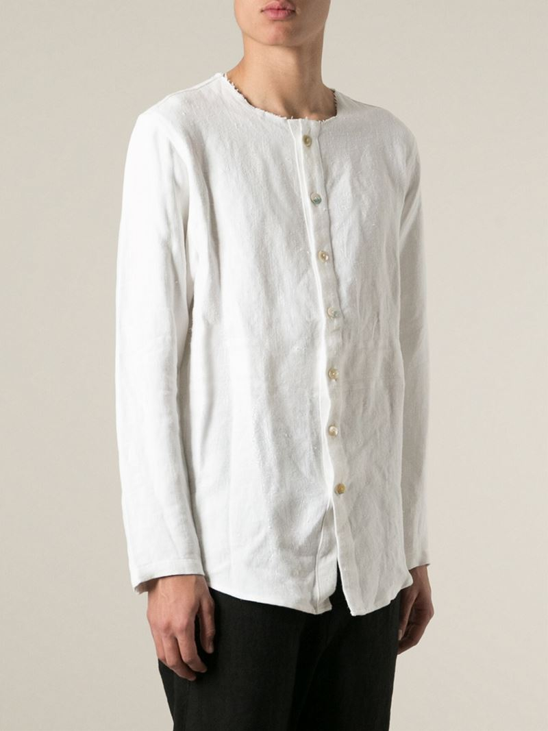 By walid Collarless Shirt in White for Men | Lyst