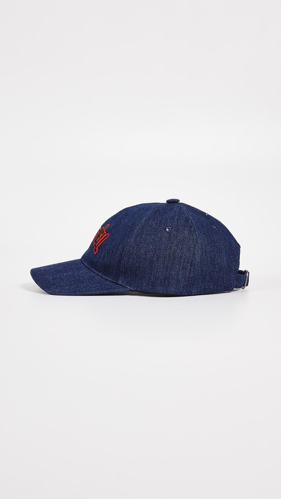 5d28c9b32d4 Lyst - A.P.C. Aaron Embroidered Denim Baseball Cap in Blue for Men