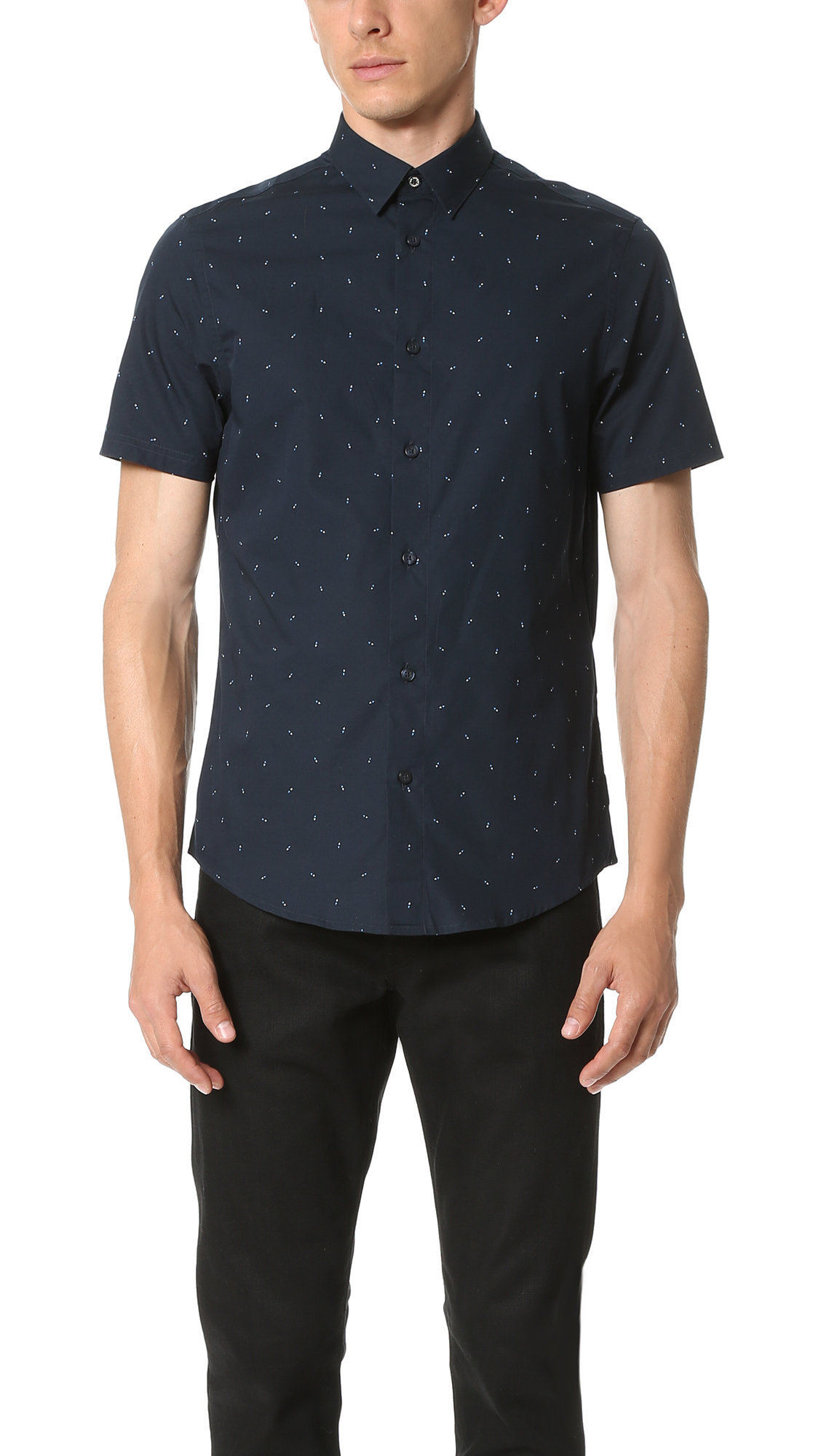 Lyst ben sherman printed short sleeve shirt in blue for men for Printed short sleeve shirts