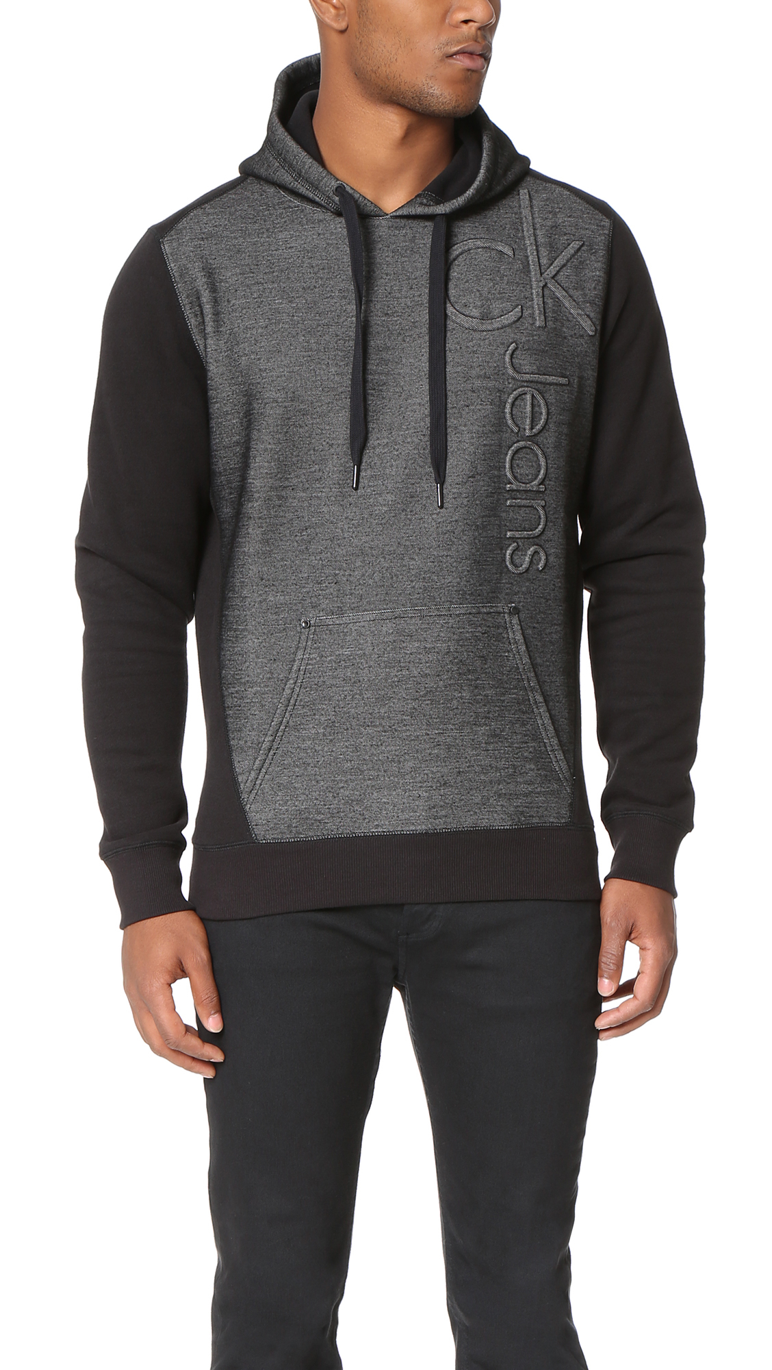calvin klein jeans bonded logo hoodie in black for men lyst. Black Bedroom Furniture Sets. Home Design Ideas