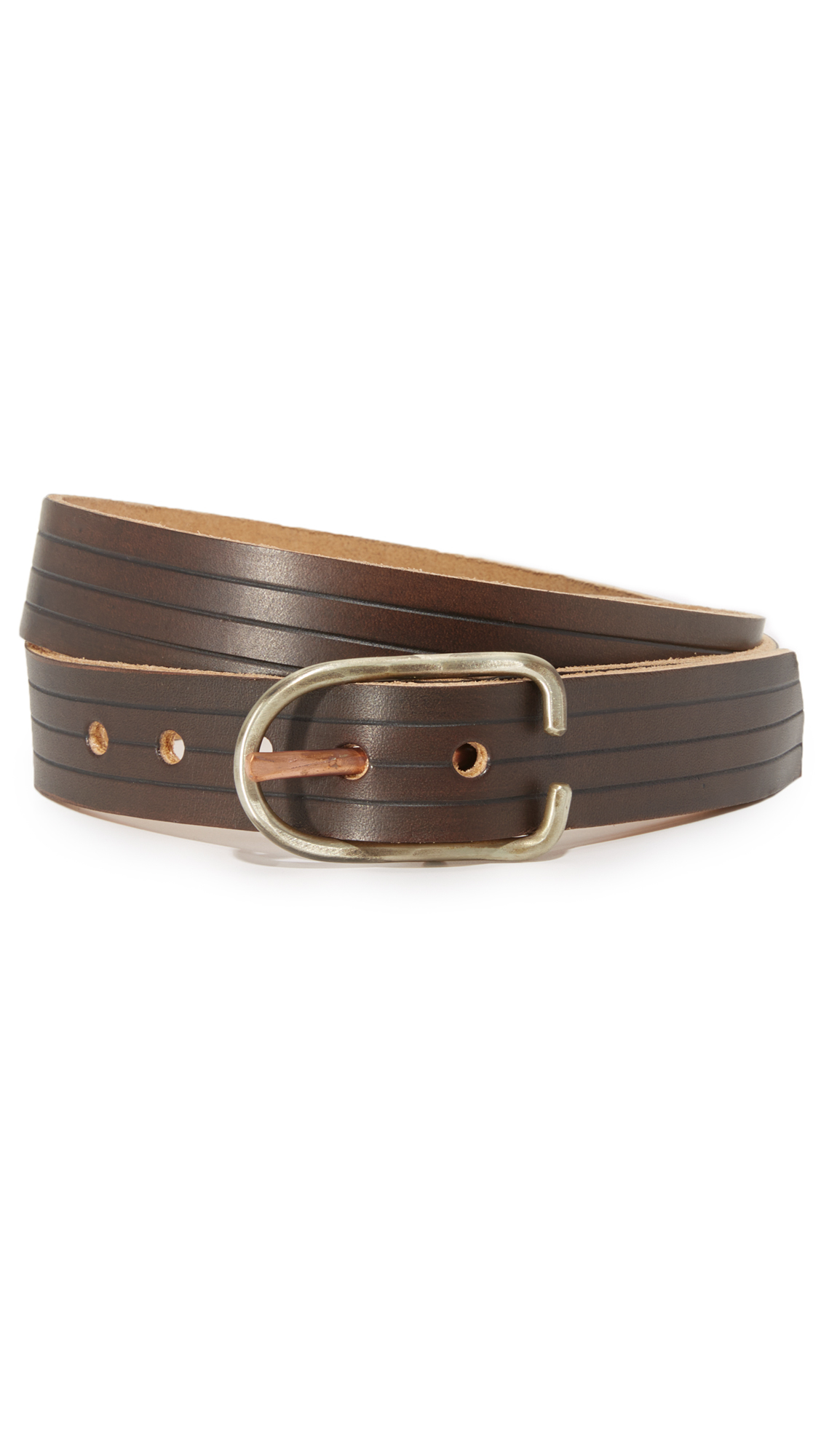 cause and effect embossed leather belt in brown for lyst