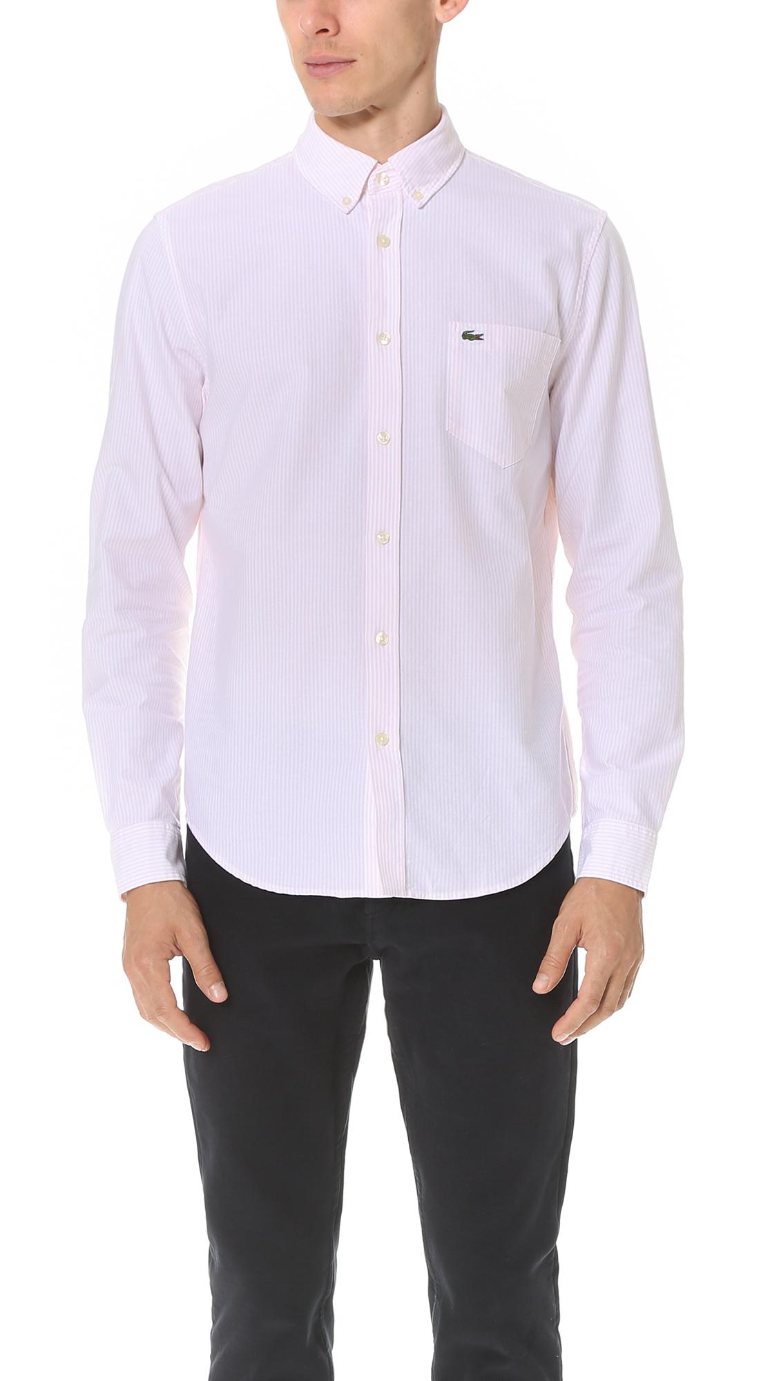 Lacoste bengal stripe button down oxford shirt in black for Black oxford button down shirt