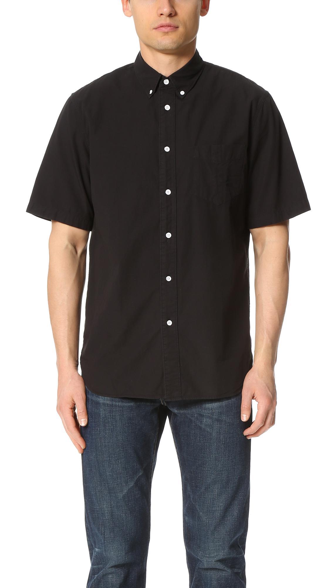 Rag bone short sleeve standard issue shirt in black for for Rag bone shirt
