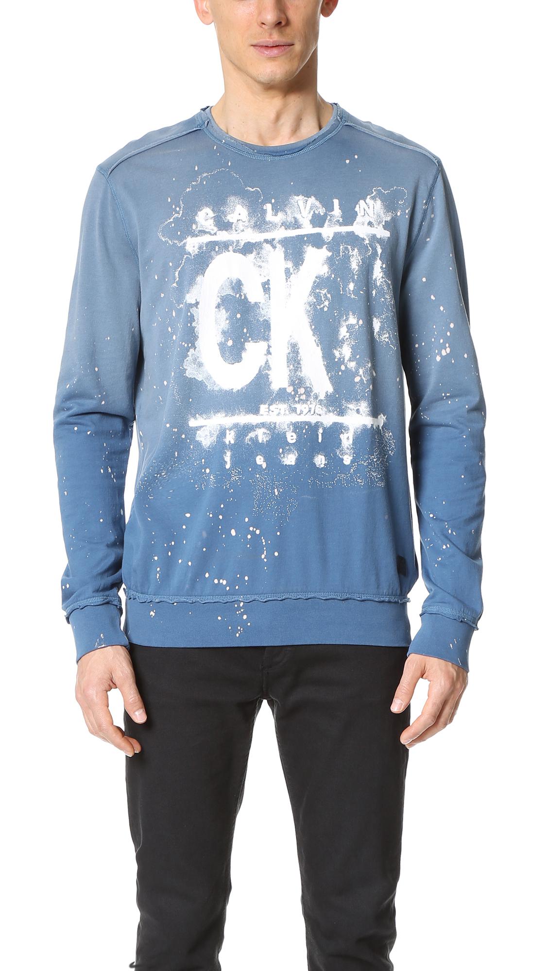 9dabab95073 Calvin Klein Jeans Watermark Printed Sweatshirt in Blue for Men - Lyst