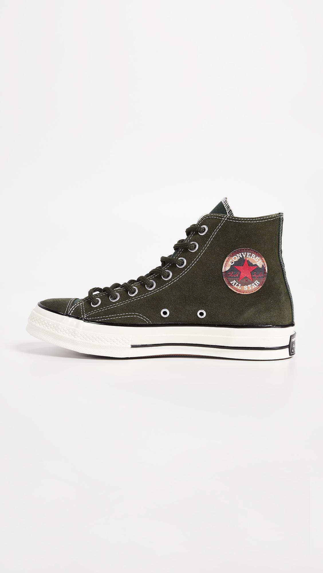 Converse Chuck Taylor 70 Base Camp Suede High Top Sneakers in Green ... 261bae3dd