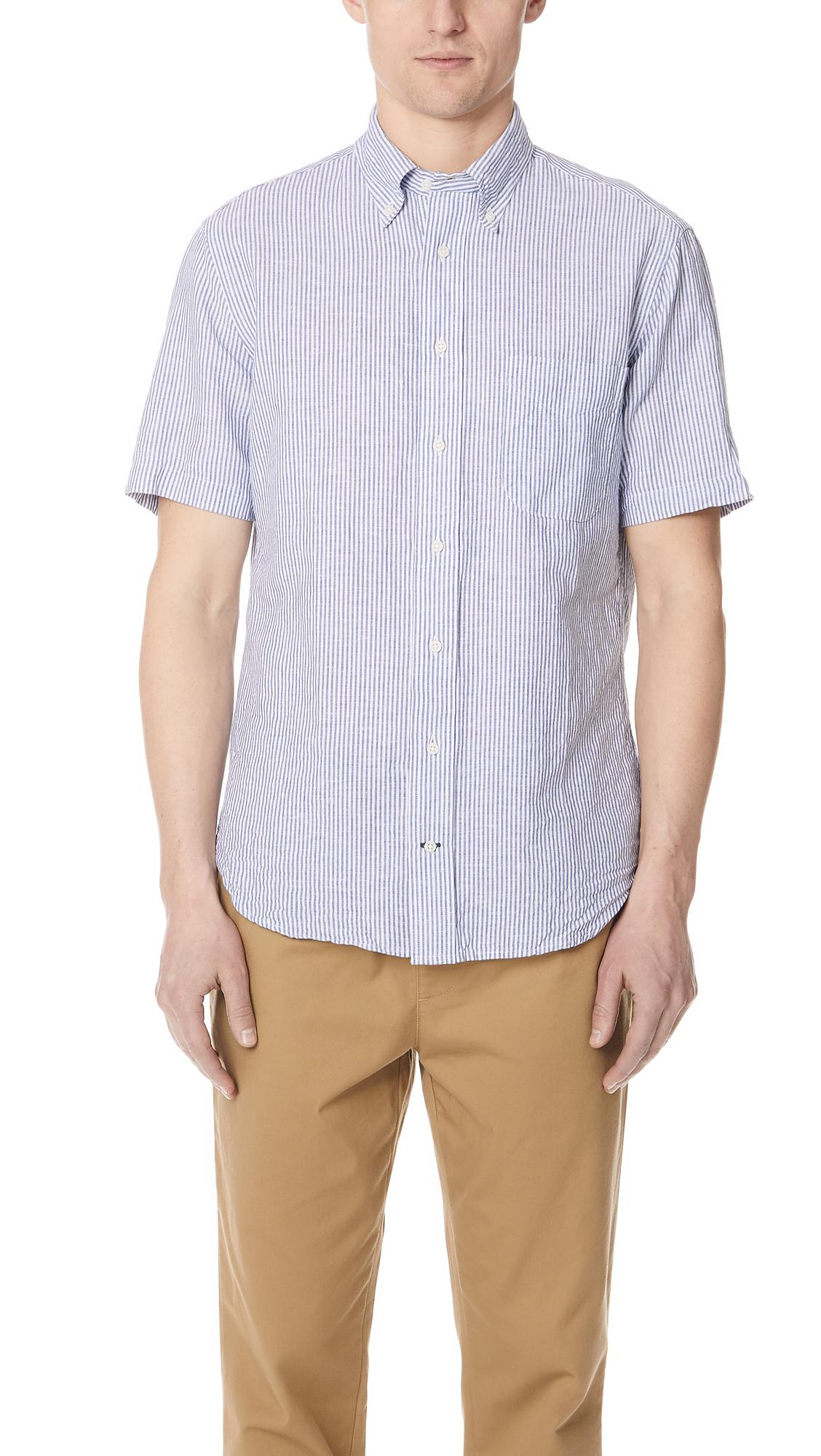 9ad68433b6832 Gitman Brothers Vintage Short Sleeve Linen Stripe Shirt in Blue for ...
