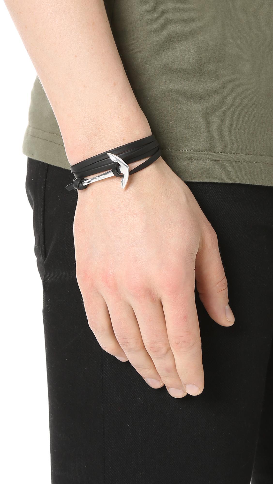 Miansai Black Anchor Leather Bracelet For Men Lyst View Fullscreen