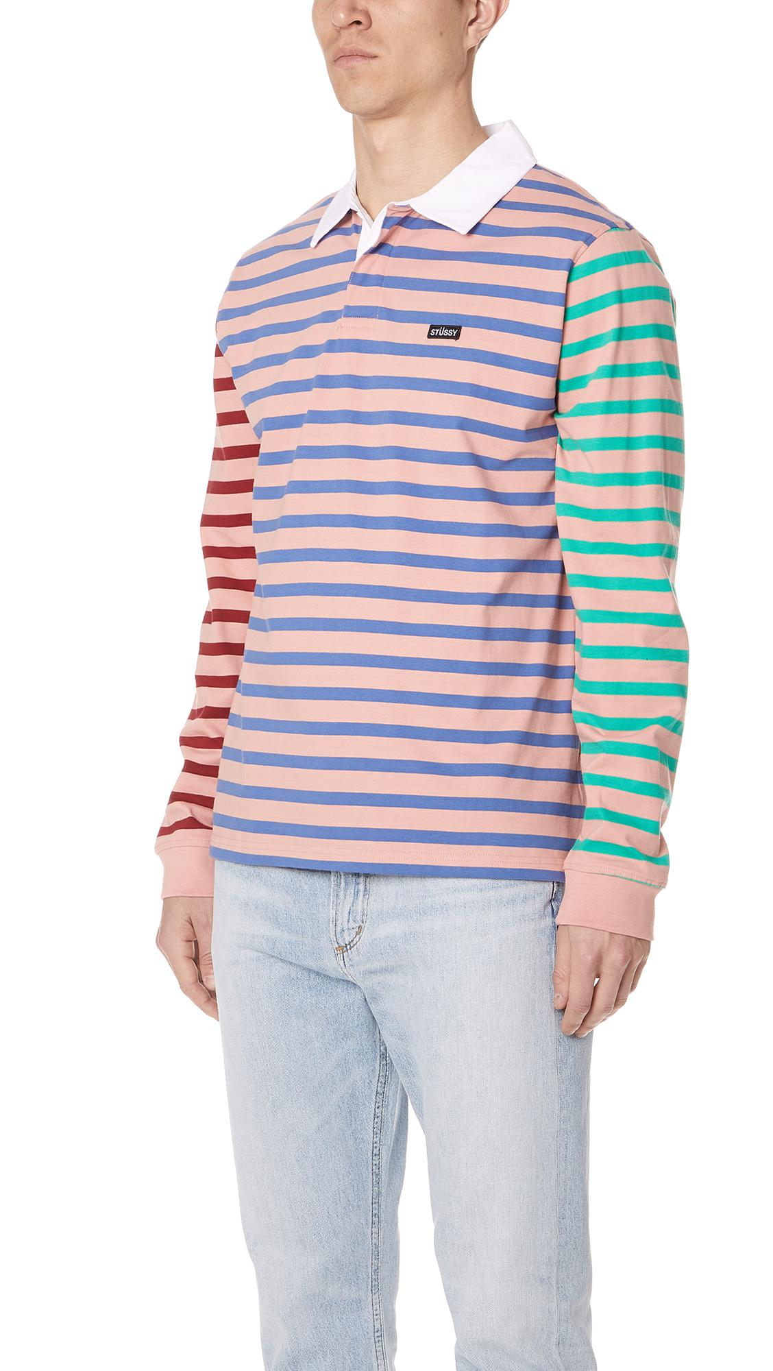 3ed7f1794e Stussy Jonah Stripe Long Sleeve Rugby Shirt in Pink for Men - Lyst