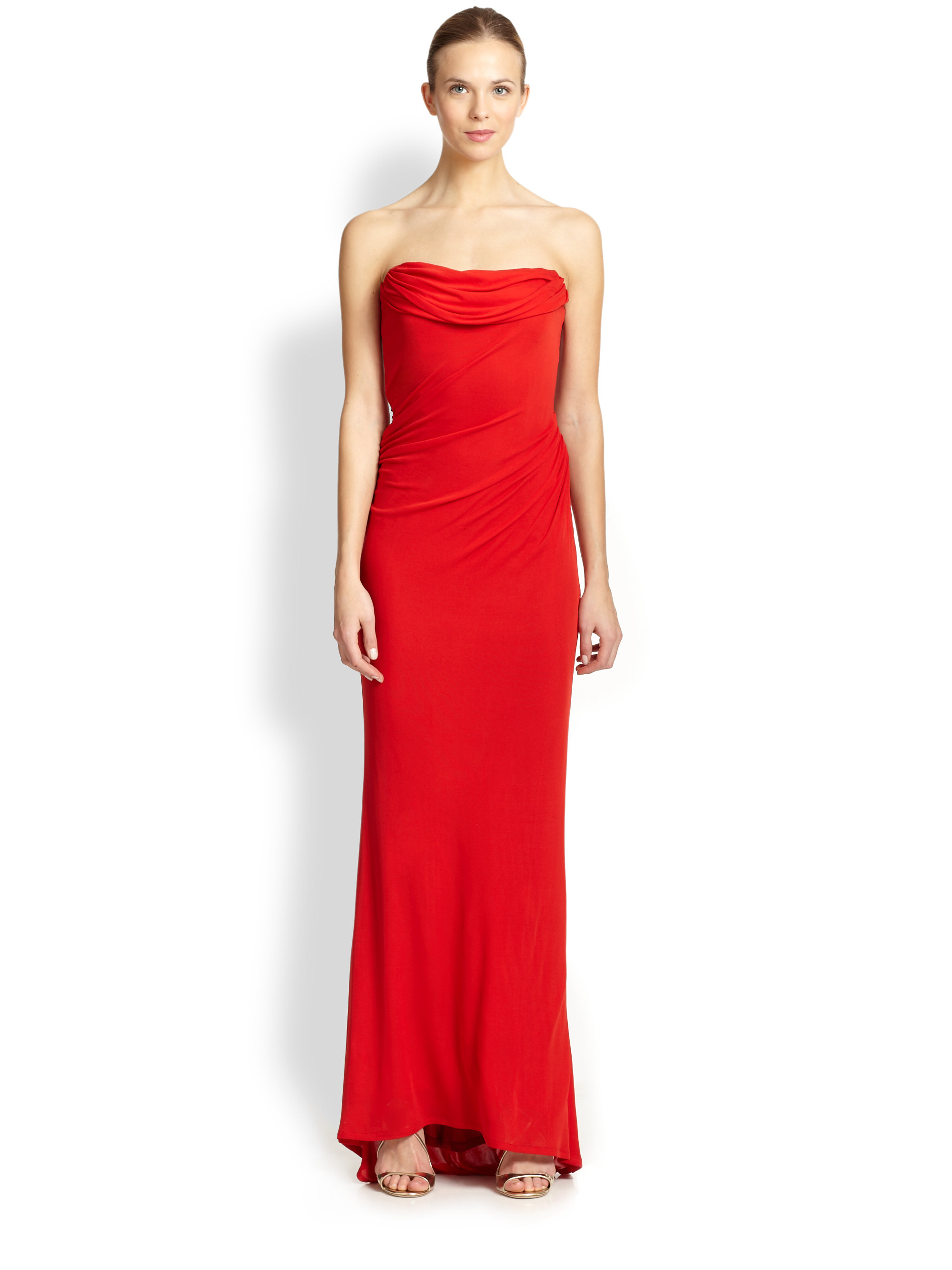 David meister Strapless Drape Gown in Red  Lyst