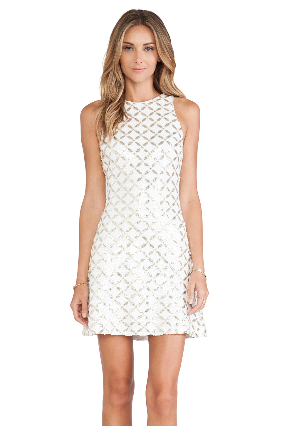 Dress the population mia dress in gold white amp gold maze lyst