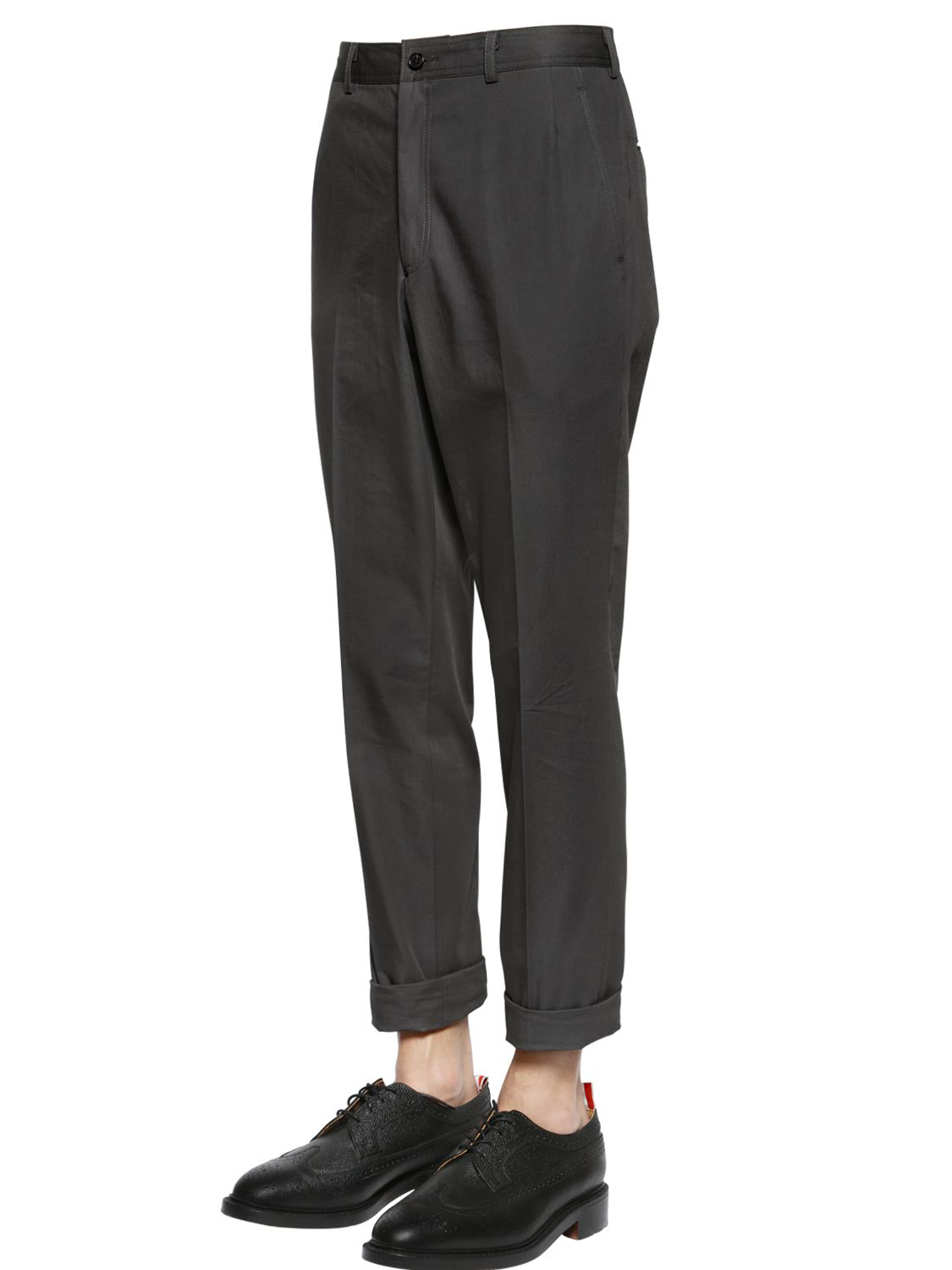 Thom browne Cotton Twill Pants in Gray for Men | Lyst
