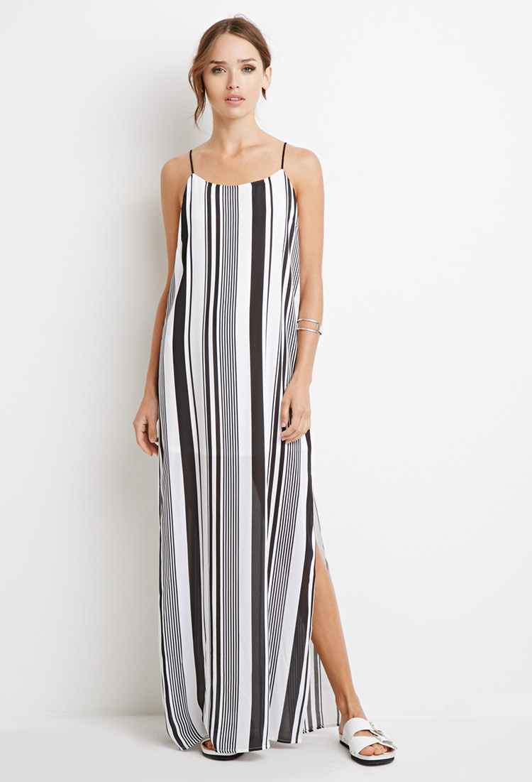 White and black striped maxi dress