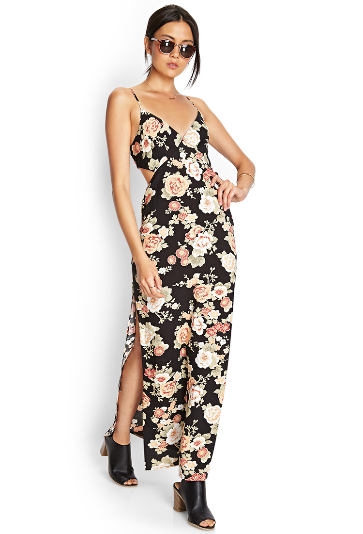 Lyst Forever 21 Cutout Floral Maxi Dress
