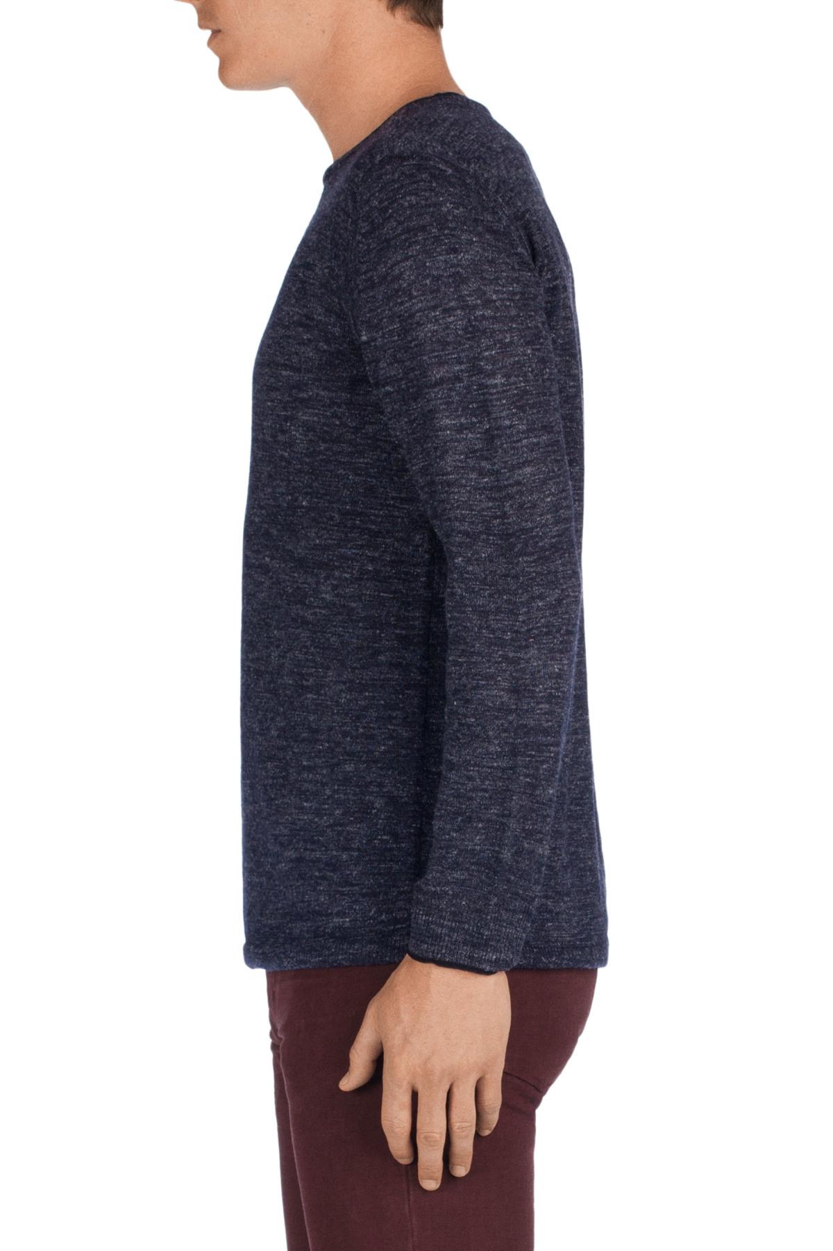 j brand conrad sweater in navy in blue for men navy melange lyst. Black Bedroom Furniture Sets. Home Design Ideas