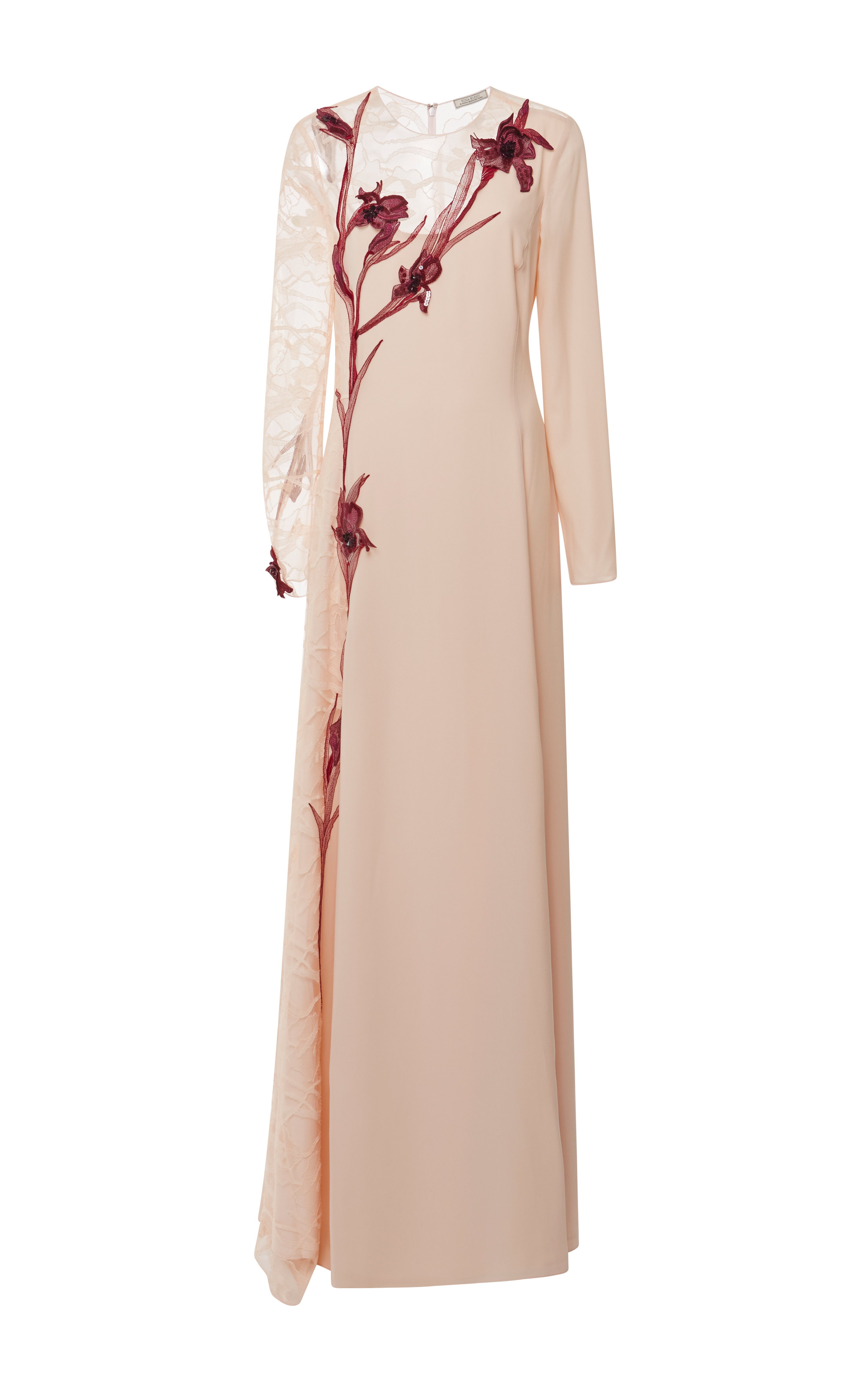Lyst - Nina ricci Embroidered Lace And Silk-Crepe Gown in Natural