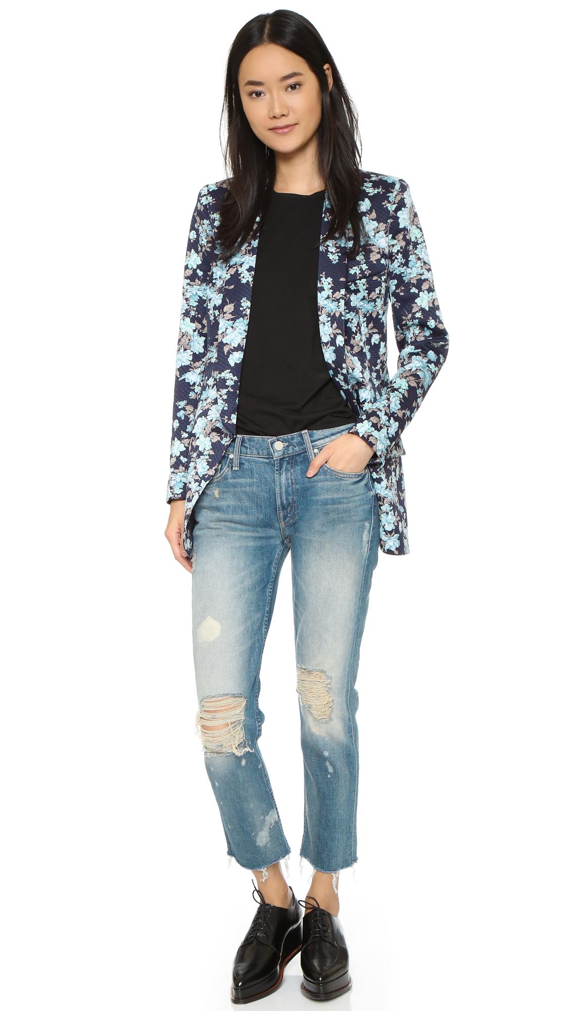 Smythe long shawl blazer in blue lyst for Smythe inc