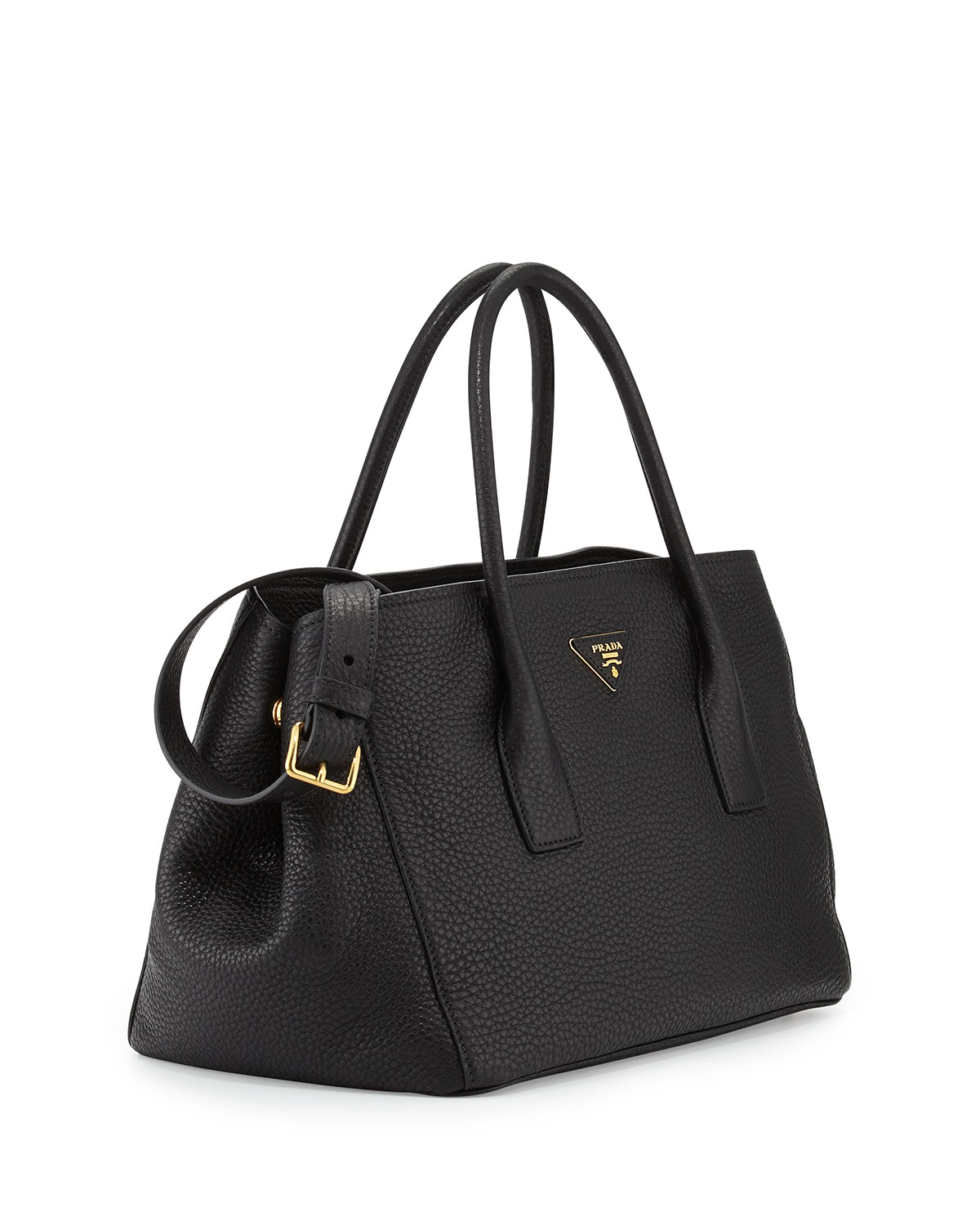 brown prada purse - Prada Vitello Daino Garden Tote Bag in Black (BLACK(NERO)) | Lyst