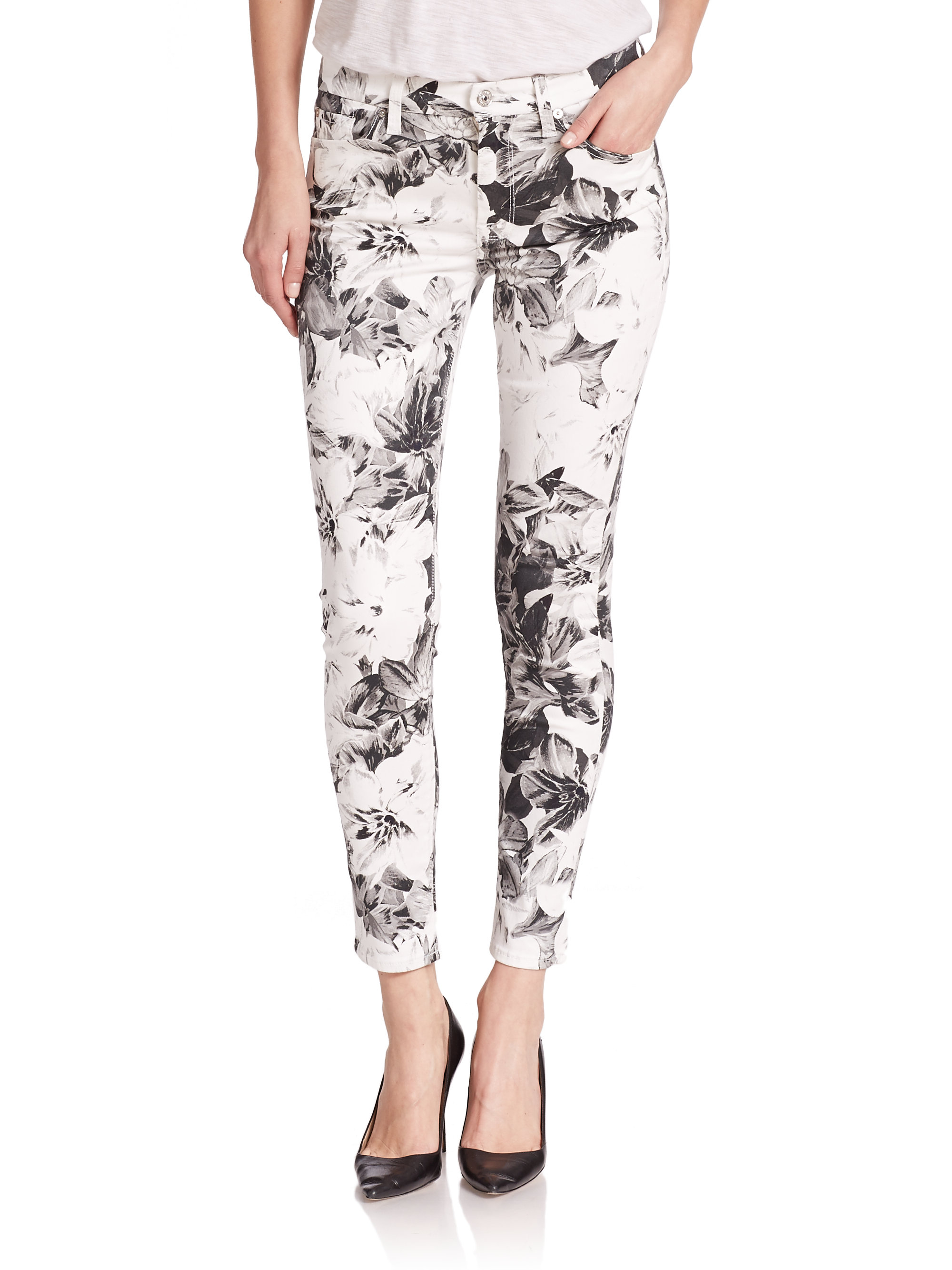 7 for all mankind Floral-print Ankle Skinny Jeans | Lyst