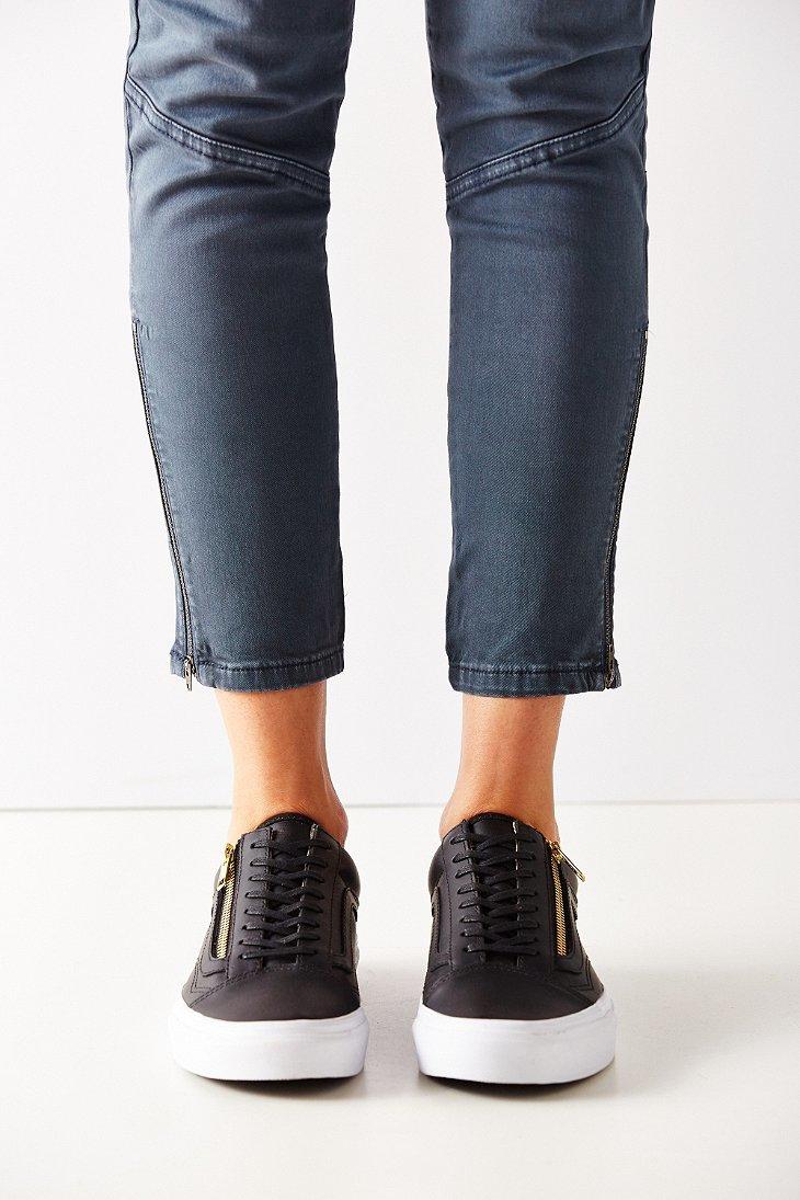 Lyst - Vans Leather Old Skool Zip Sneaker in Black dc387d40bfc1