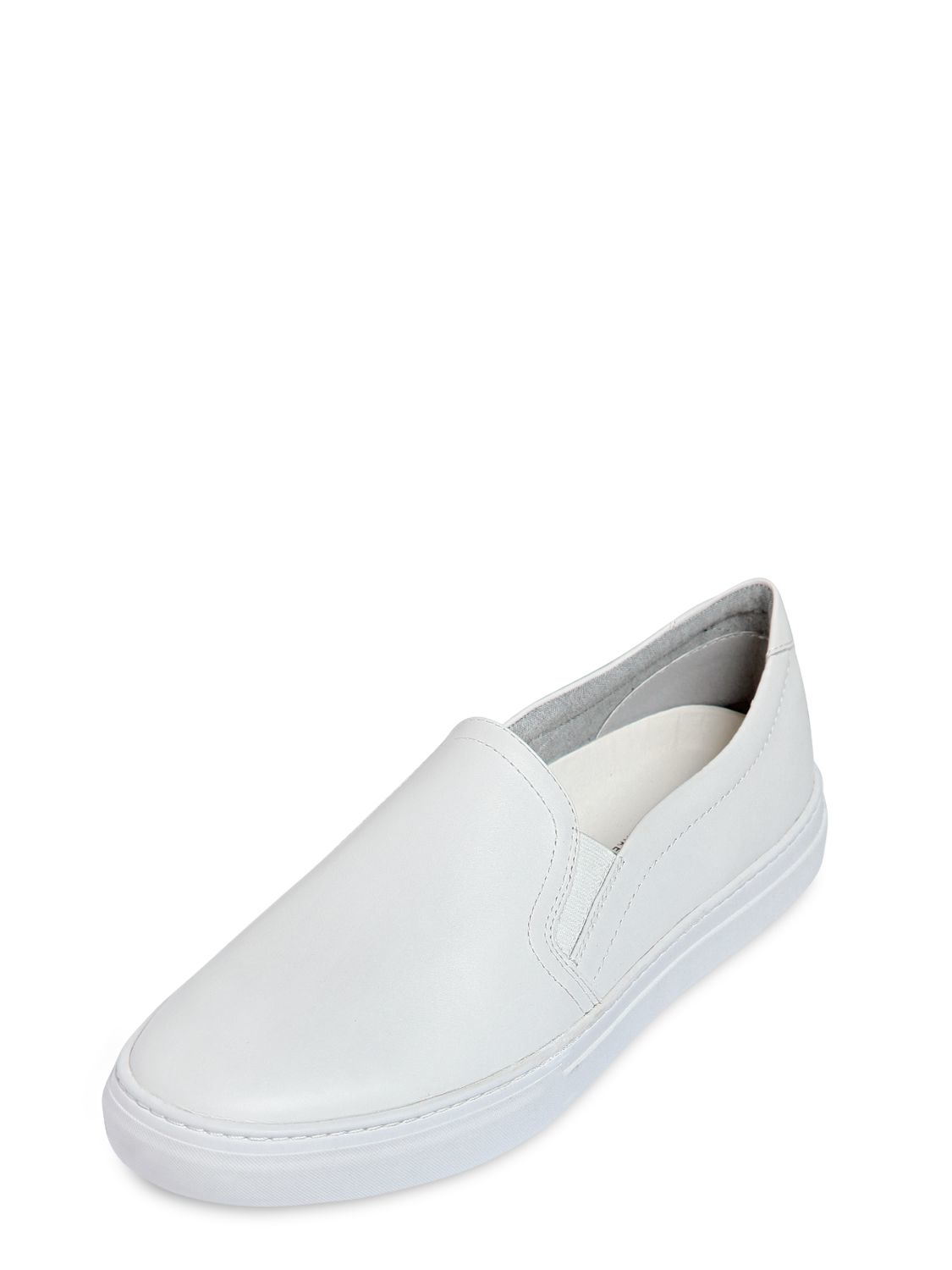 vagabond leather slip on sneakers in white for lyst