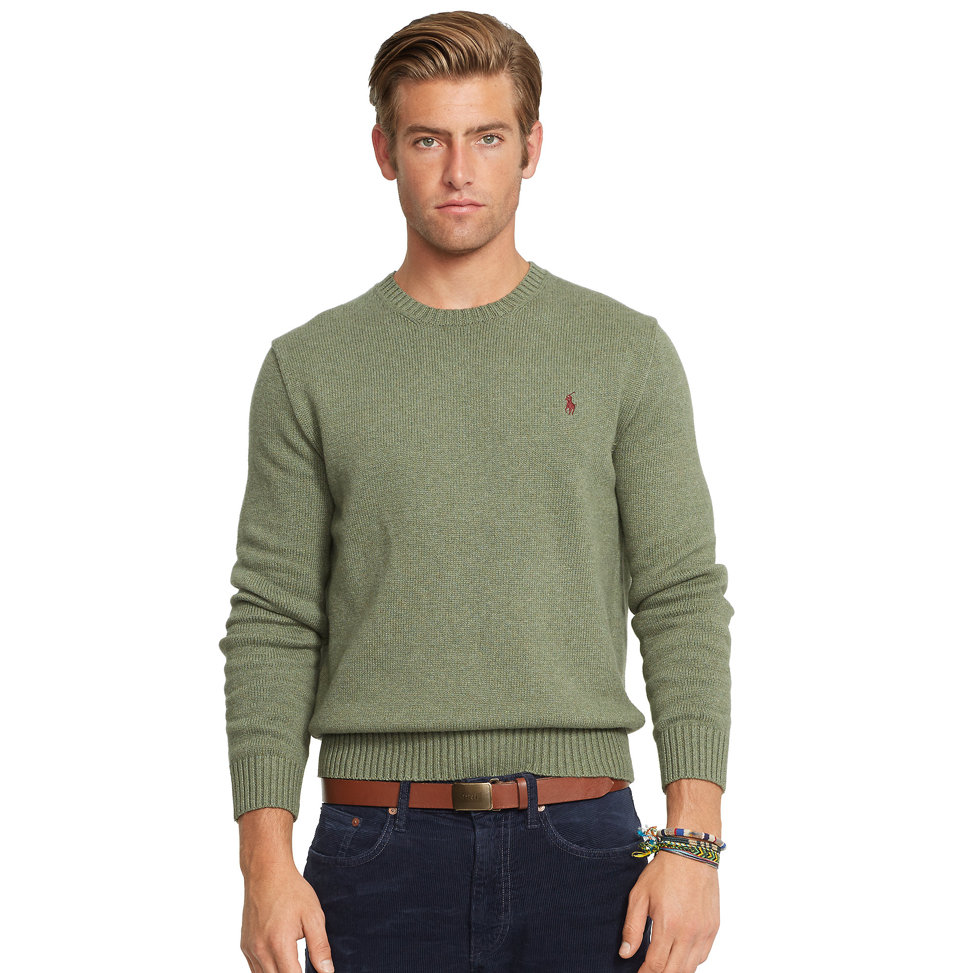Polo ralph lauren Cotton Crewneck Sweater in Green for Men | Lyst