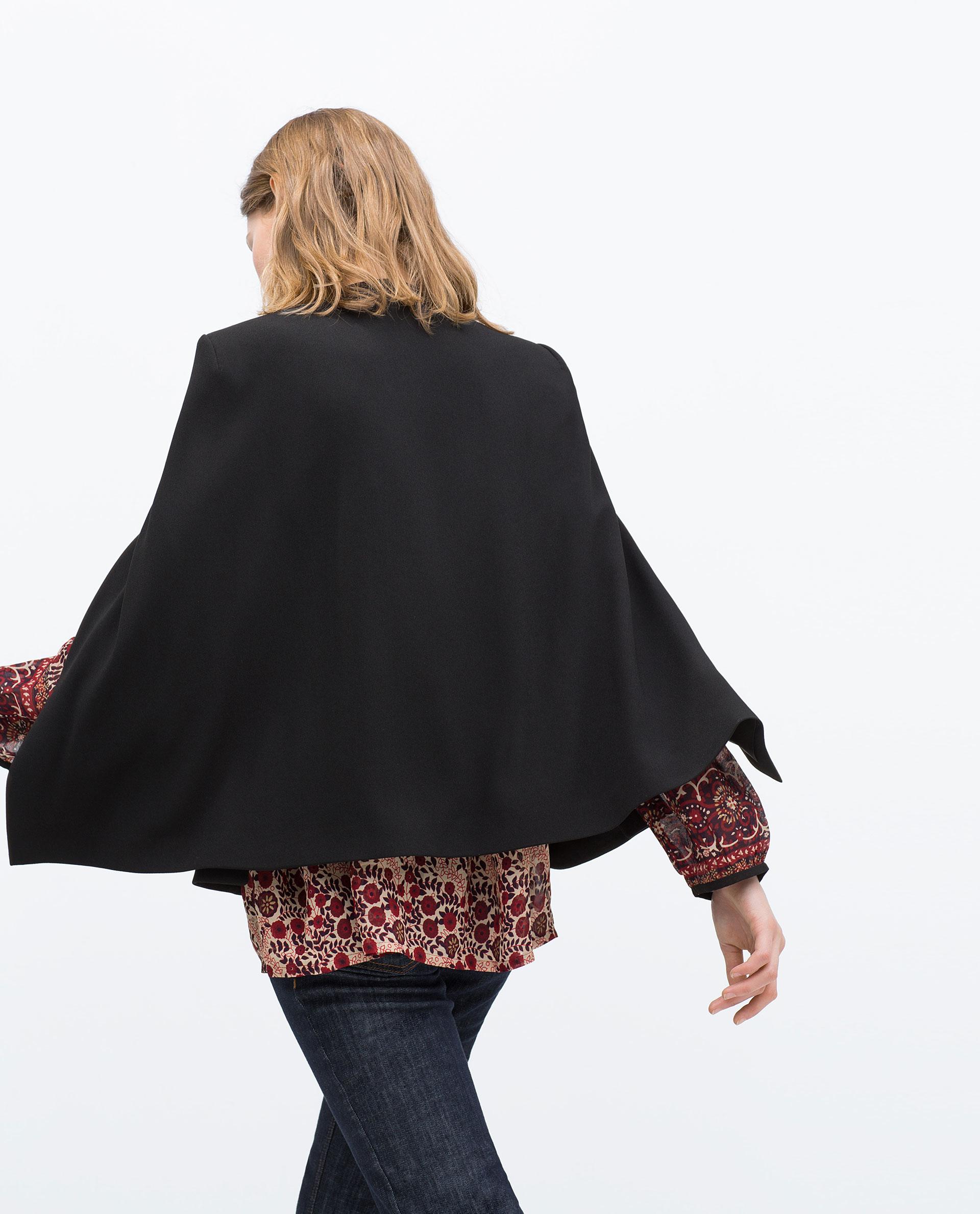 zara cape jacket in black lyst. Black Bedroom Furniture Sets. Home Design Ideas
