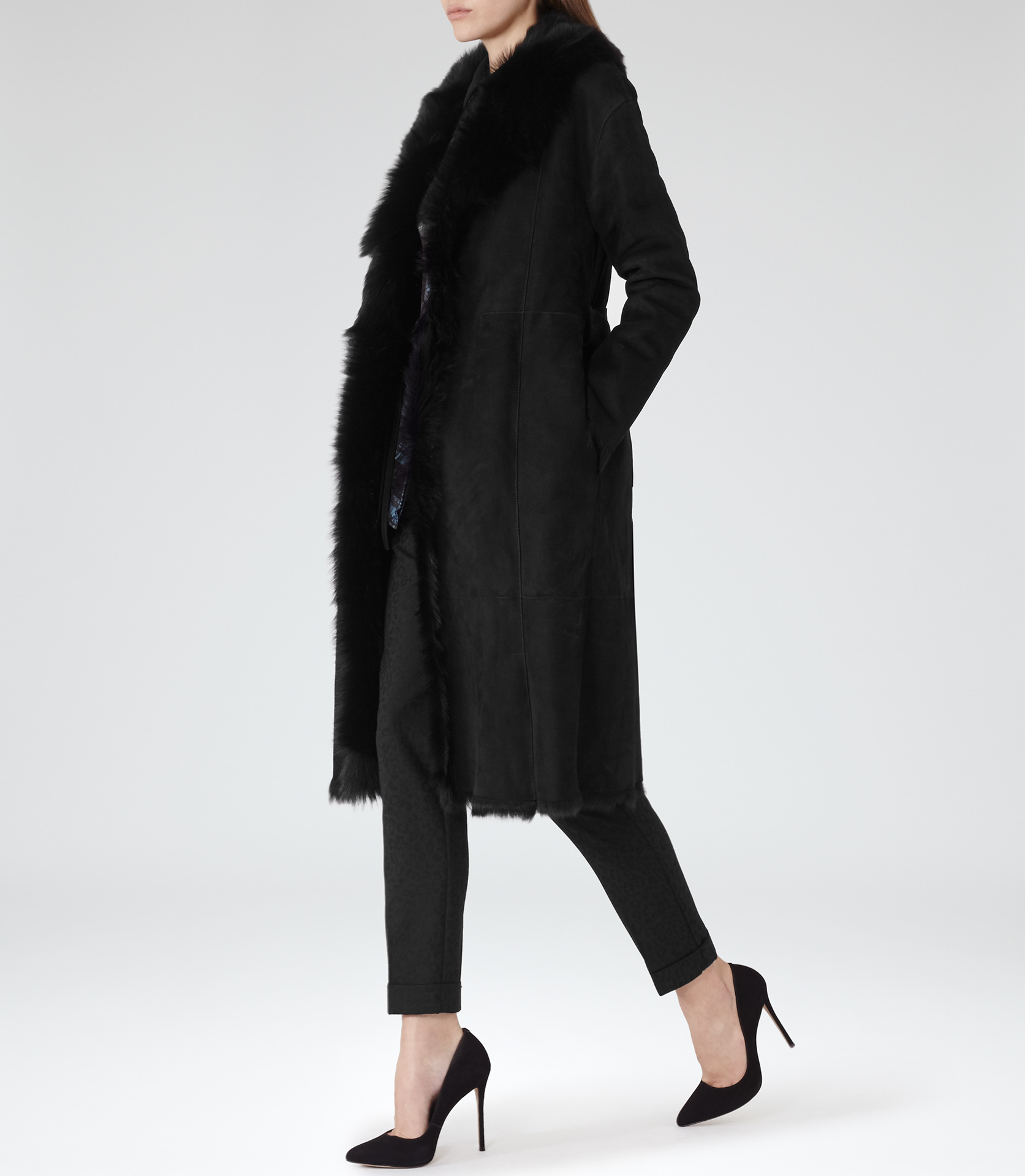 Reiss Biba Shearling Wrap Coat in Black | Lyst
