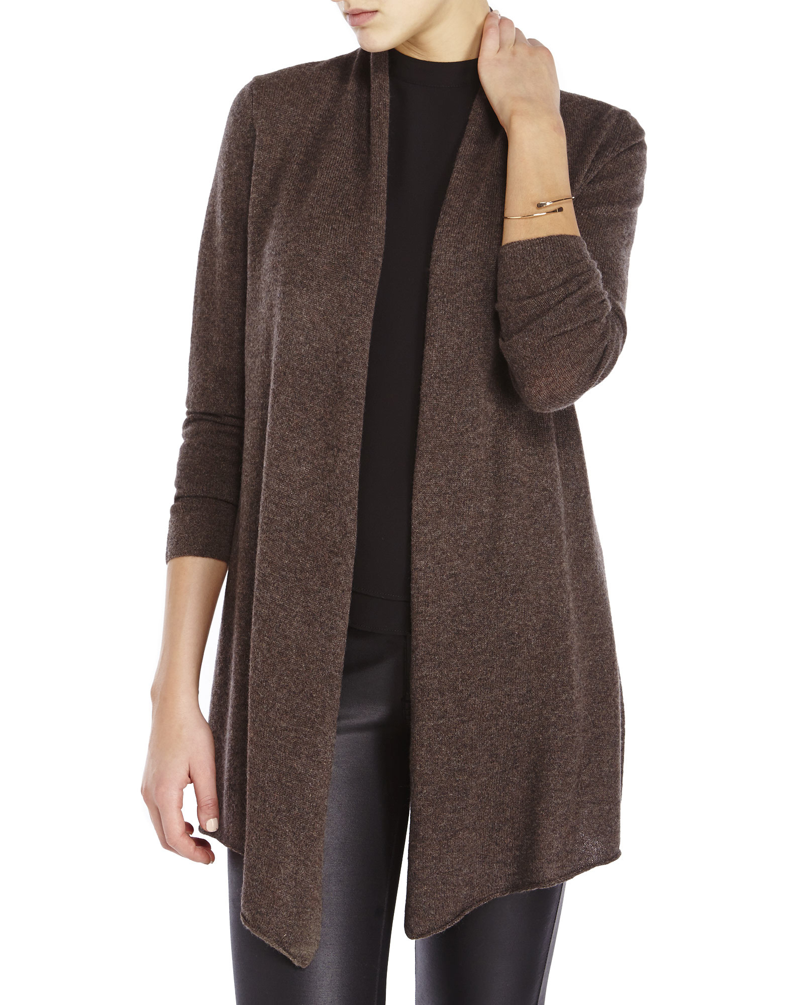 In cashmere Long Open Cardigan in Brown | Lyst