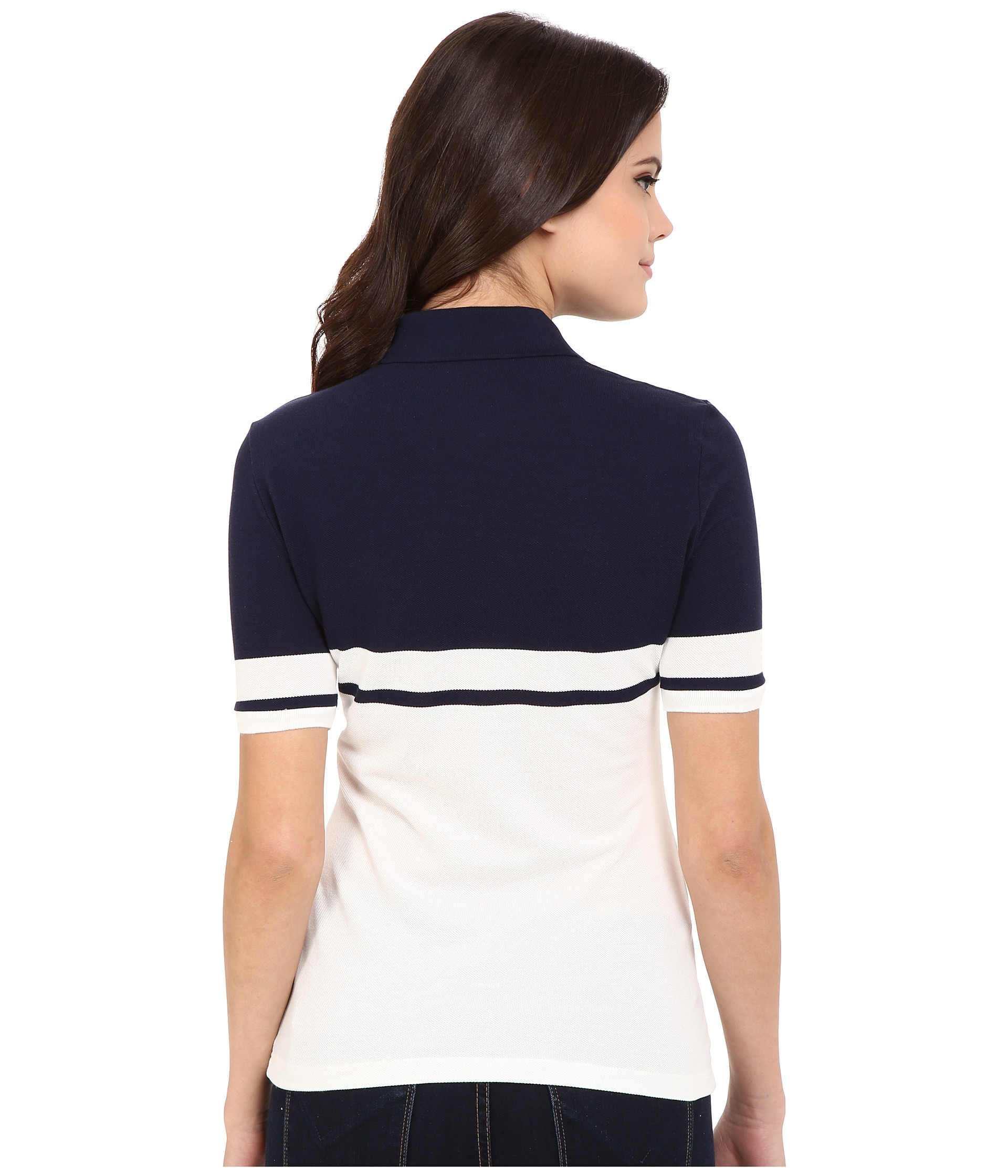 Lyst lacoste half sleeve color block polo shirt in blue for Polo color block shirt