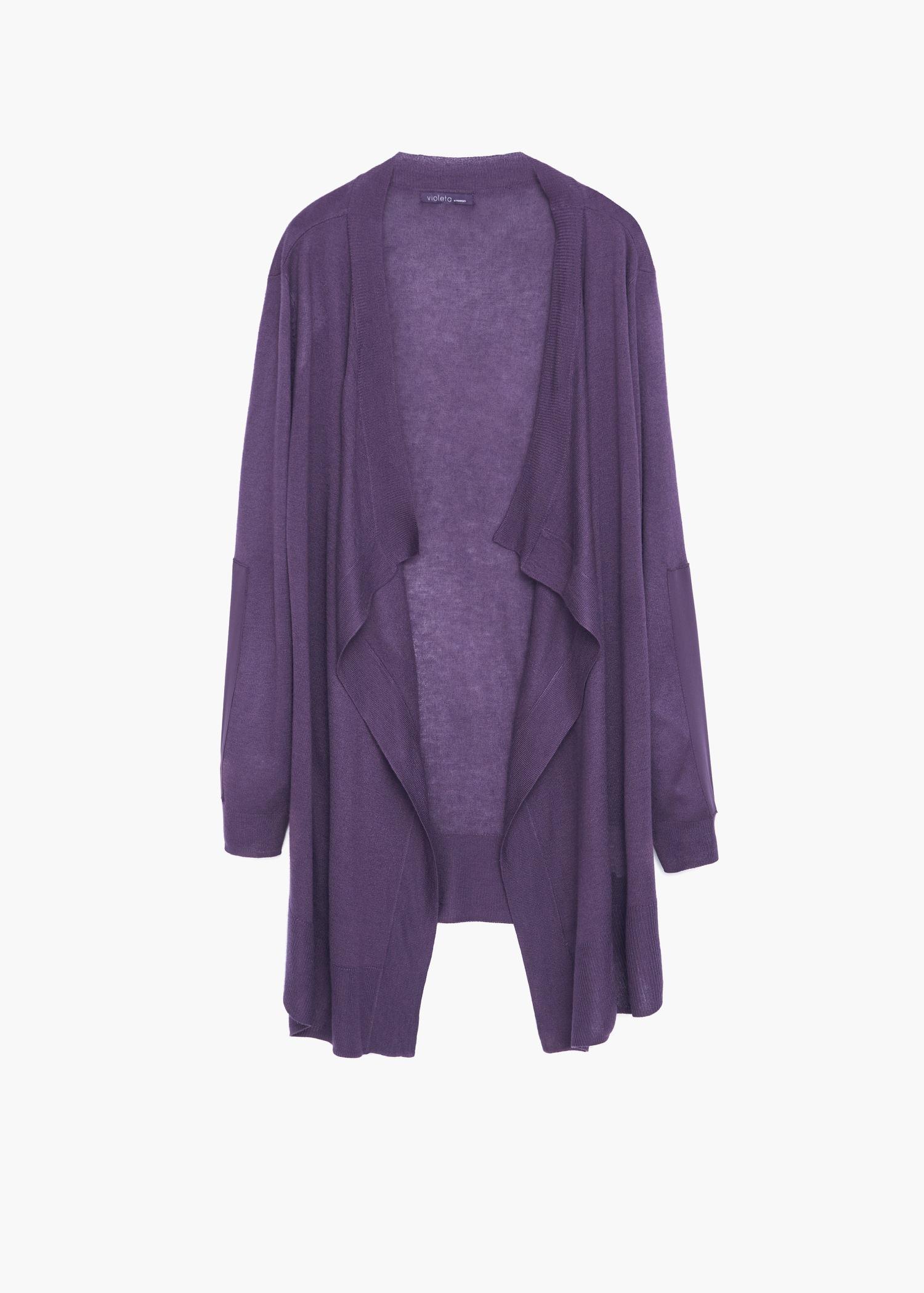 Violeta by mango Waterfall Wool-blend Cardigan in Purple | Lyst