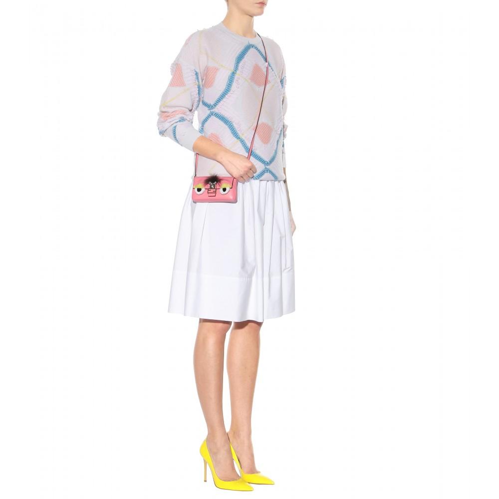 0965525802 ... discount fendi micro baguette fur trimmed leather shoulder bag in pink  lyst 6ed35 b7e30