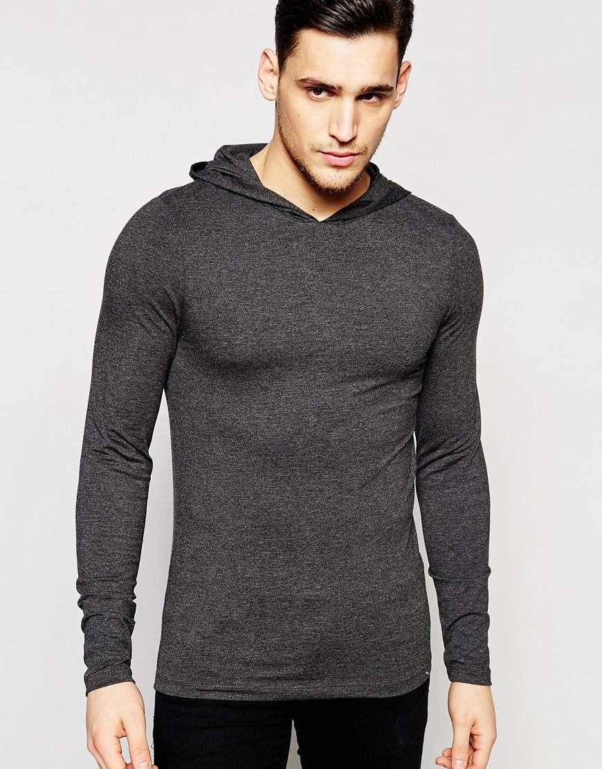 Lyst - Asos Extreme Muscle Long Sleeve T-shirt With Hood In Grey ...