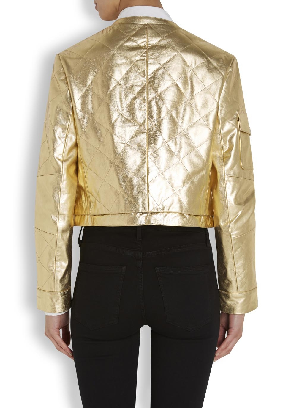 Boutique moschino Gold Quilted Leather Jacket in Metallic | Lyst : gold quilted jacket - Adamdwight.com