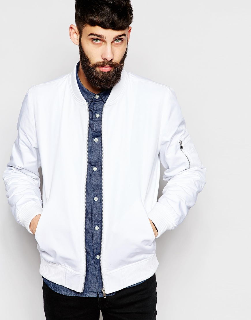 Asos Bomber Jacket In White in White for Men | Lyst