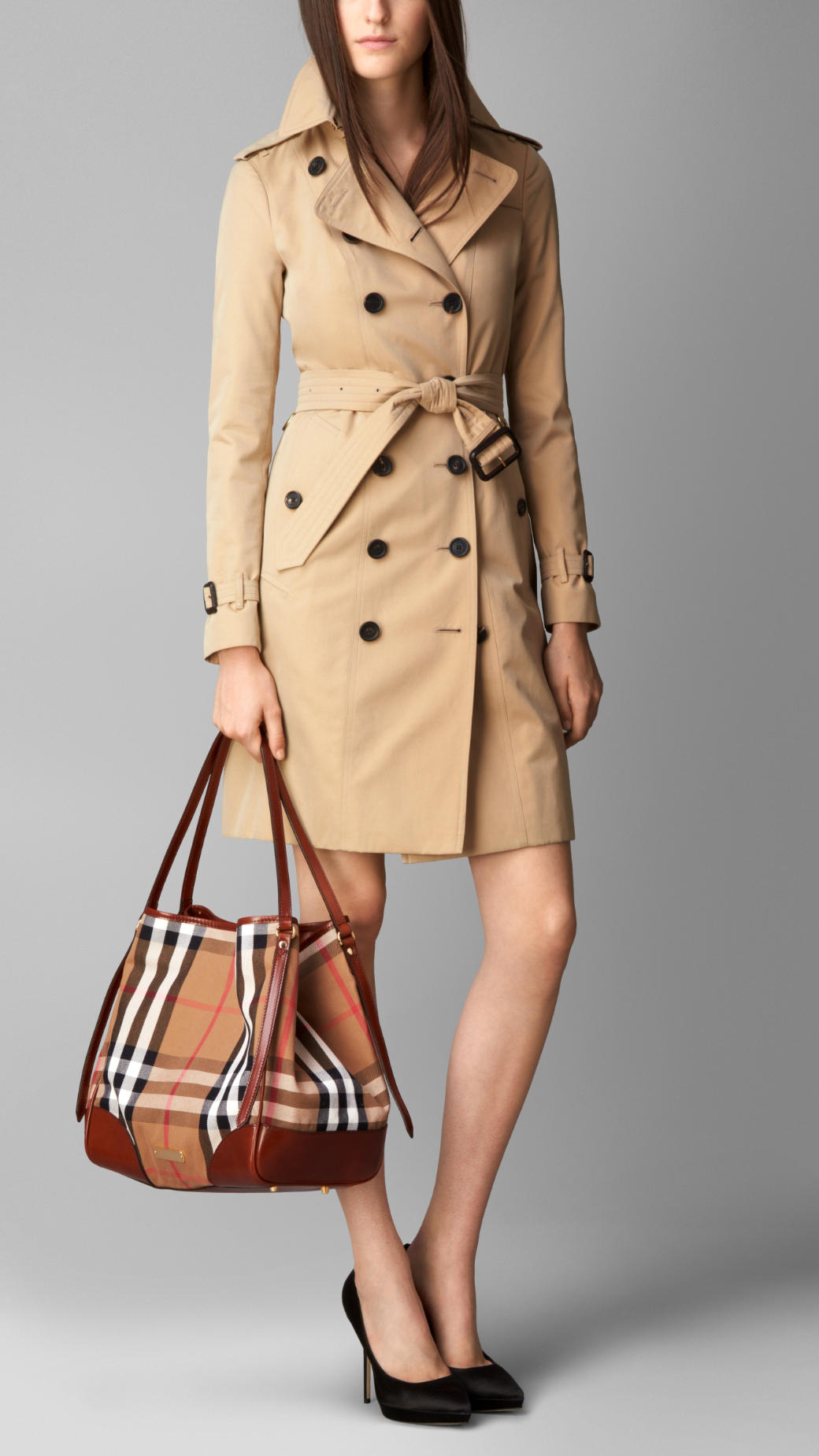 2e8b2f7ad107 Lyst Burberry Medium House Check Tote Bag In Brown