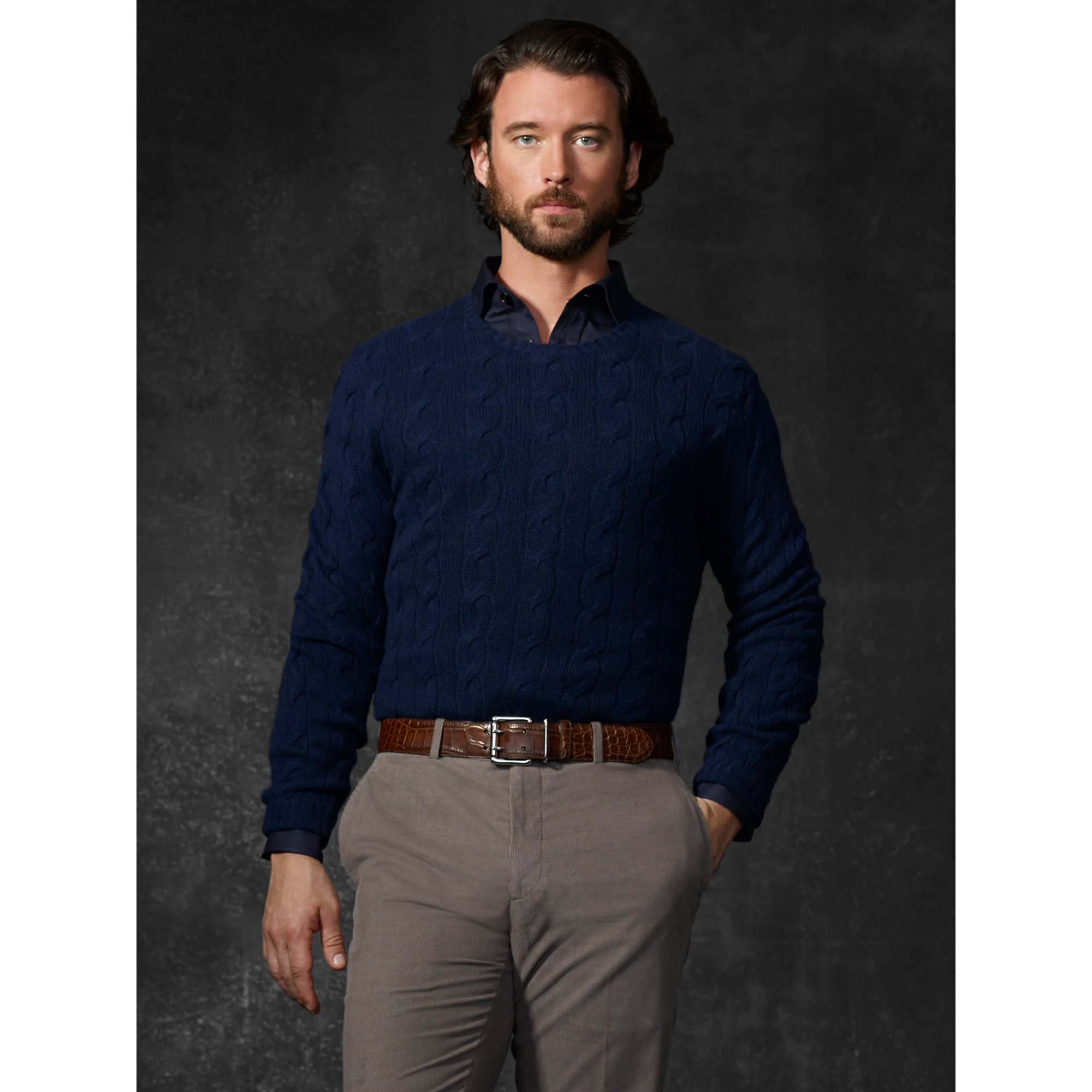 Ralph lauren purple label Cable-Knit Cashmere Sweater in Blue for ...