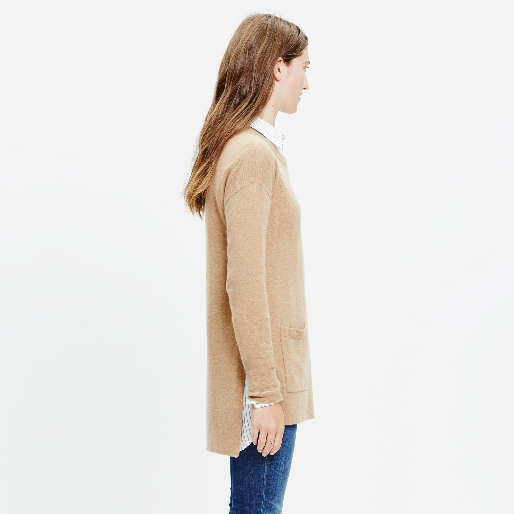 Madewell Cashmere Side-slit Pocket Sweater in Brown | Lyst