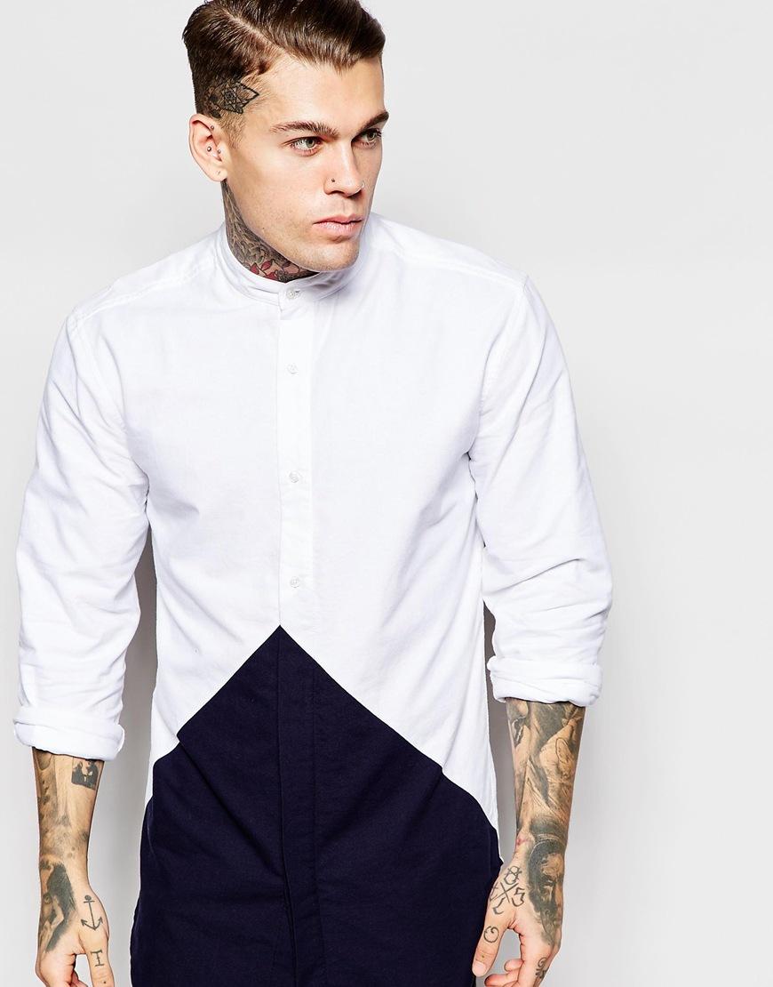 Lyst nicce london longline diamond shirt in grandad Mens grandad collar shirt