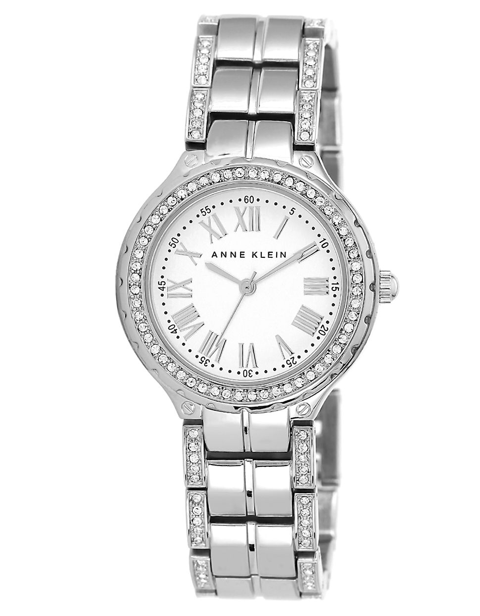 Anne klein ladies silvertone swarovski crystal bracelet watch in silver lyst for Anne klein swarovski crystals