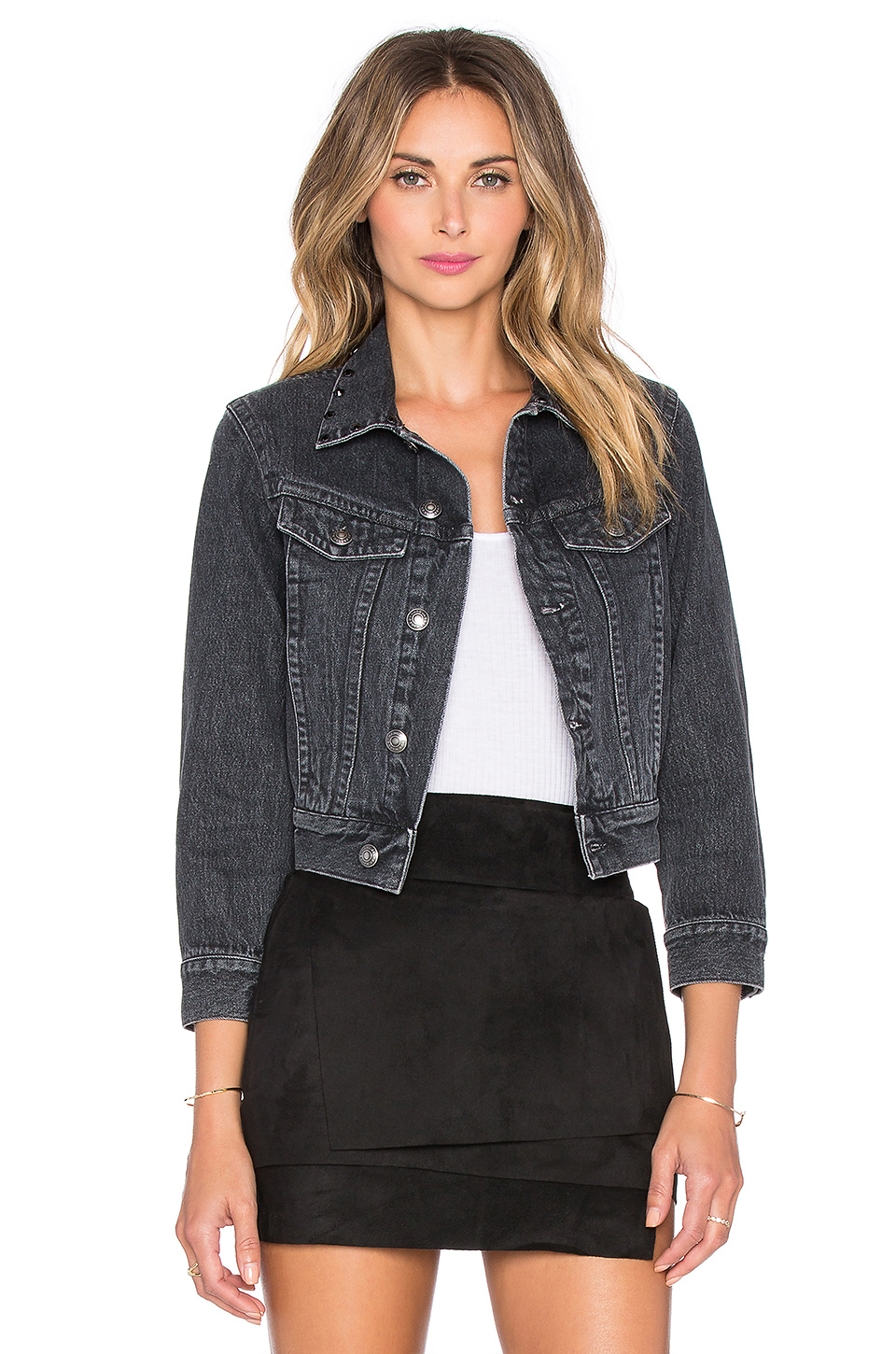 Marc by marc jacobs Cropped Denim Jacket in Black | Lyst