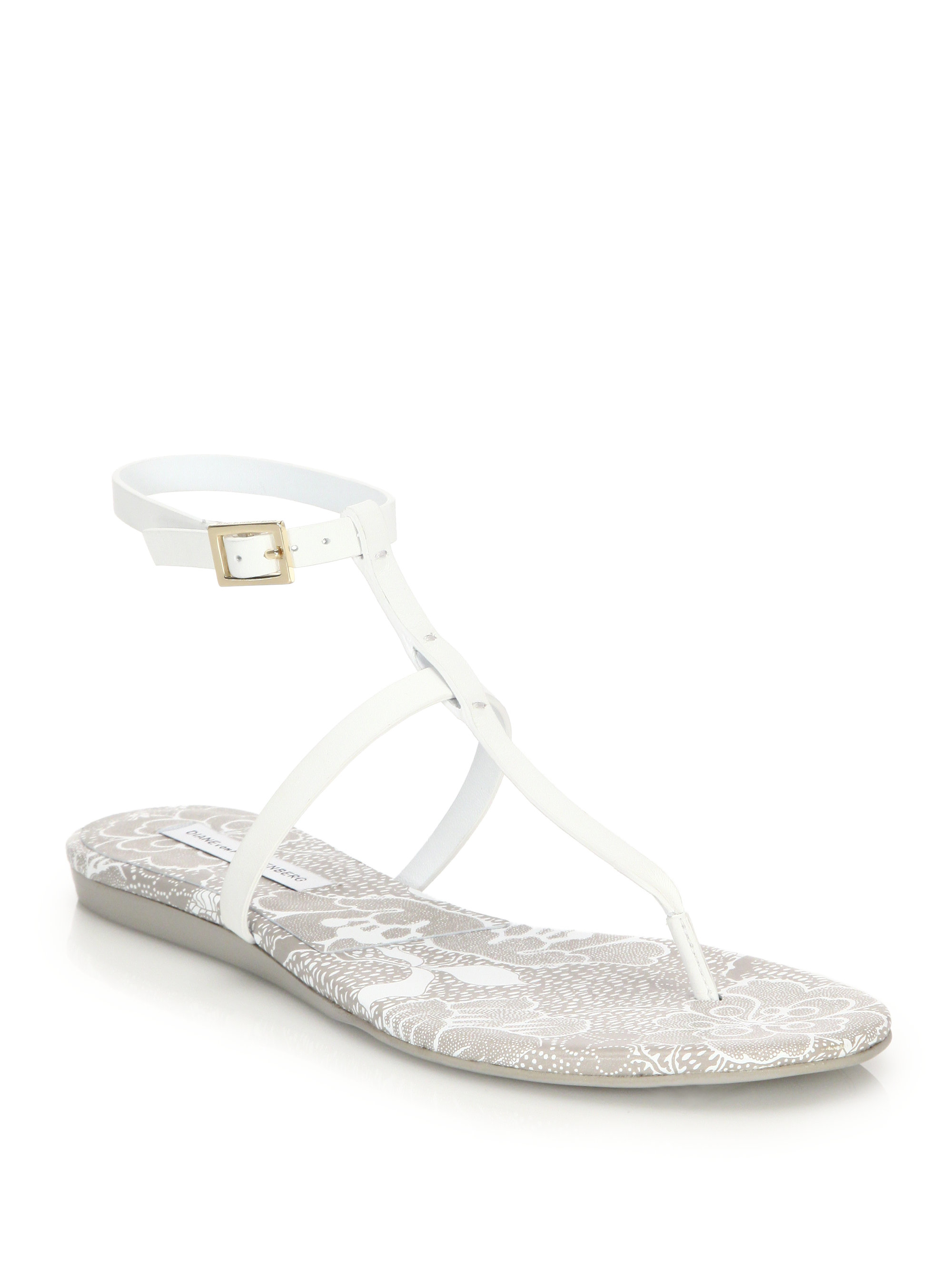Diane von Furstenberg T-Strap Leather Sandals excellent cheap online classic sale online how much online sXk1EQ