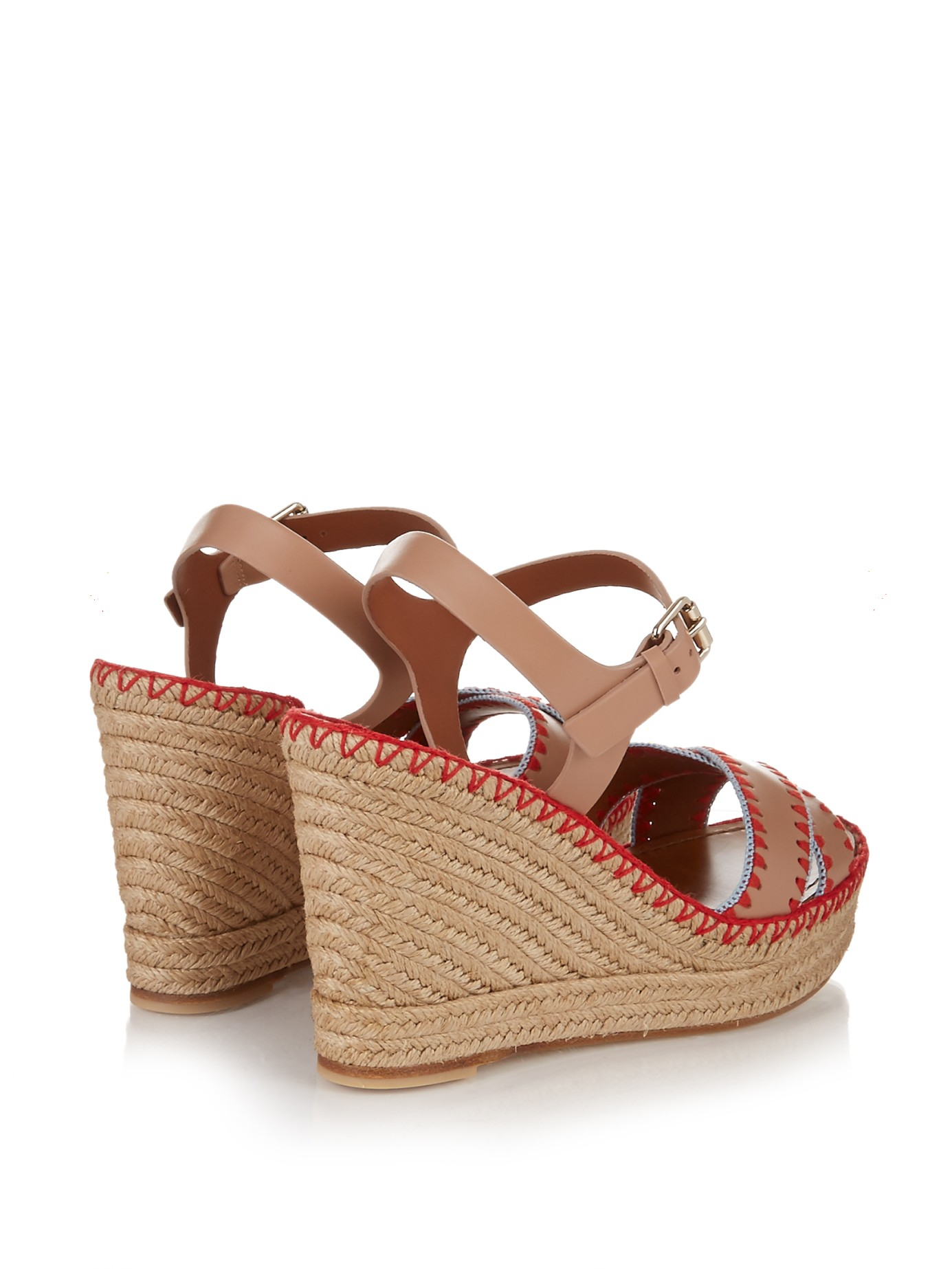 9f7b3734eae393 Lyst - Valentino Embroidered Leather Espadrille Sandals