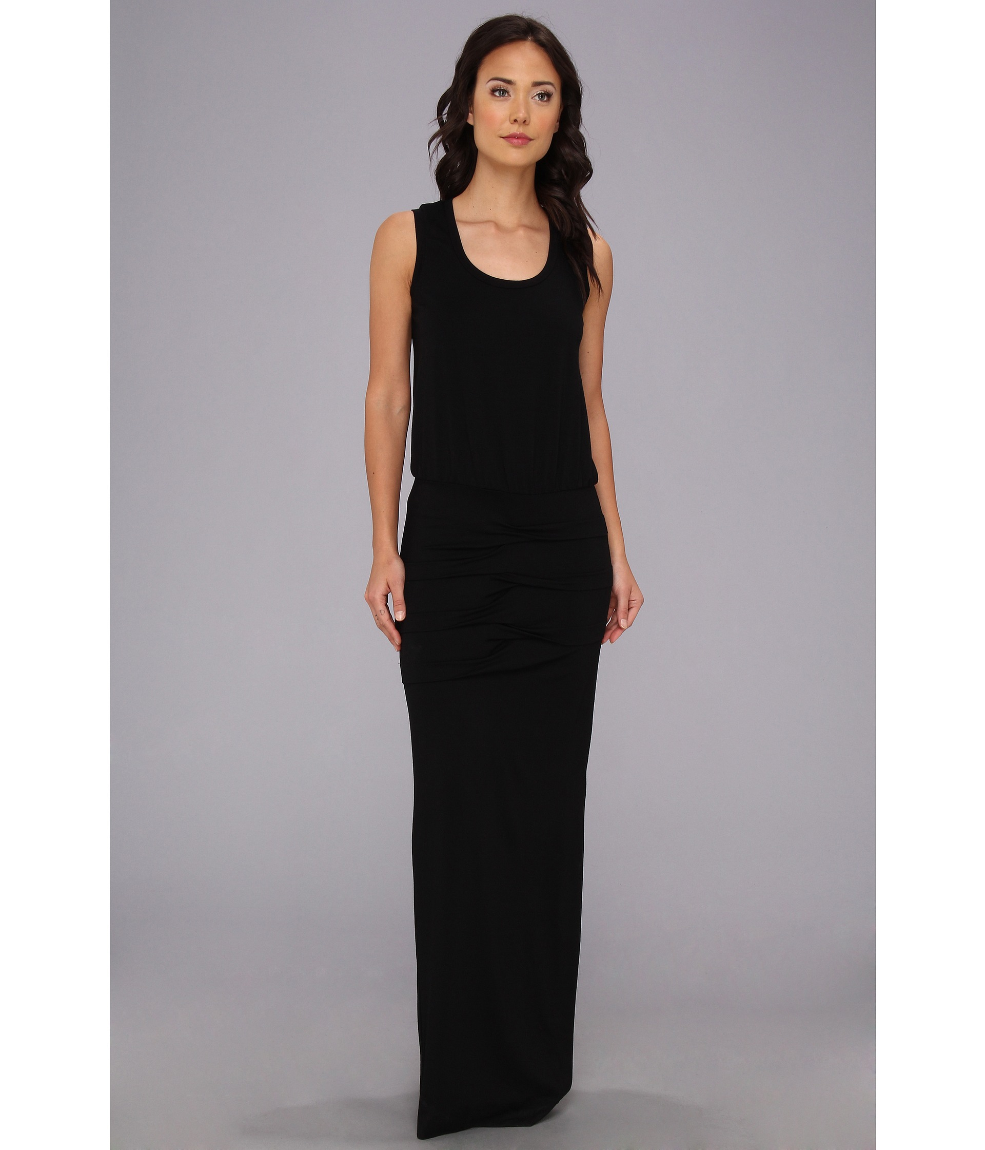 Nicole miller Blouson Jersey Maxi Dress in Black | Lyst
