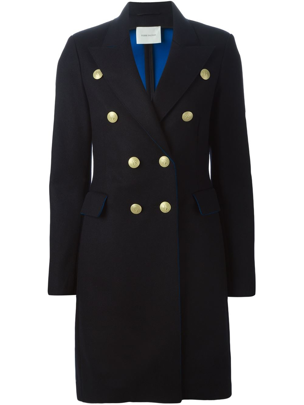 Balmain Military Coat With Silver Buttons in Black | Lyst